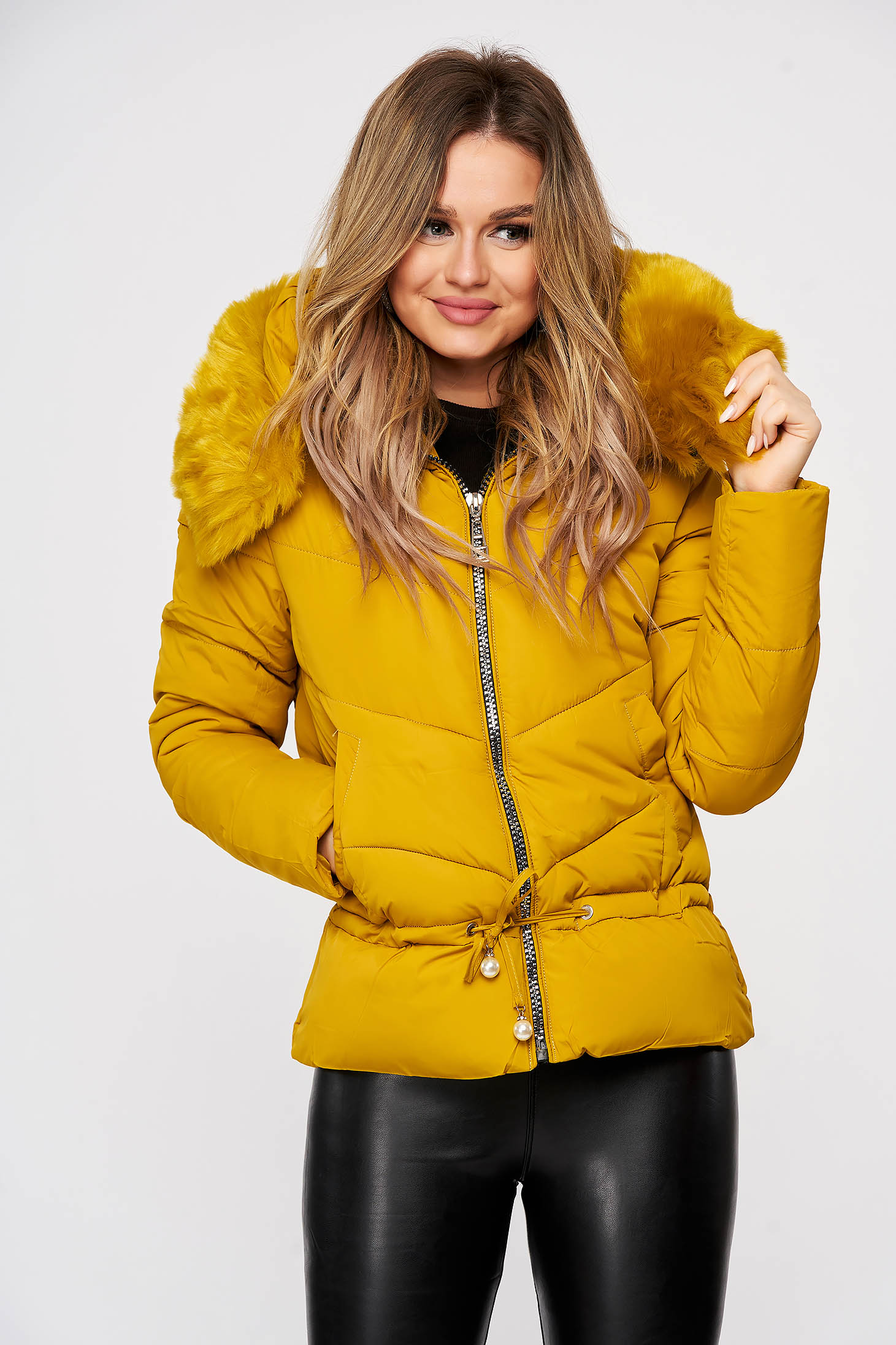 Mustard jacket ribbon fastening with faux fur accessory detachable hood from slicker casual
