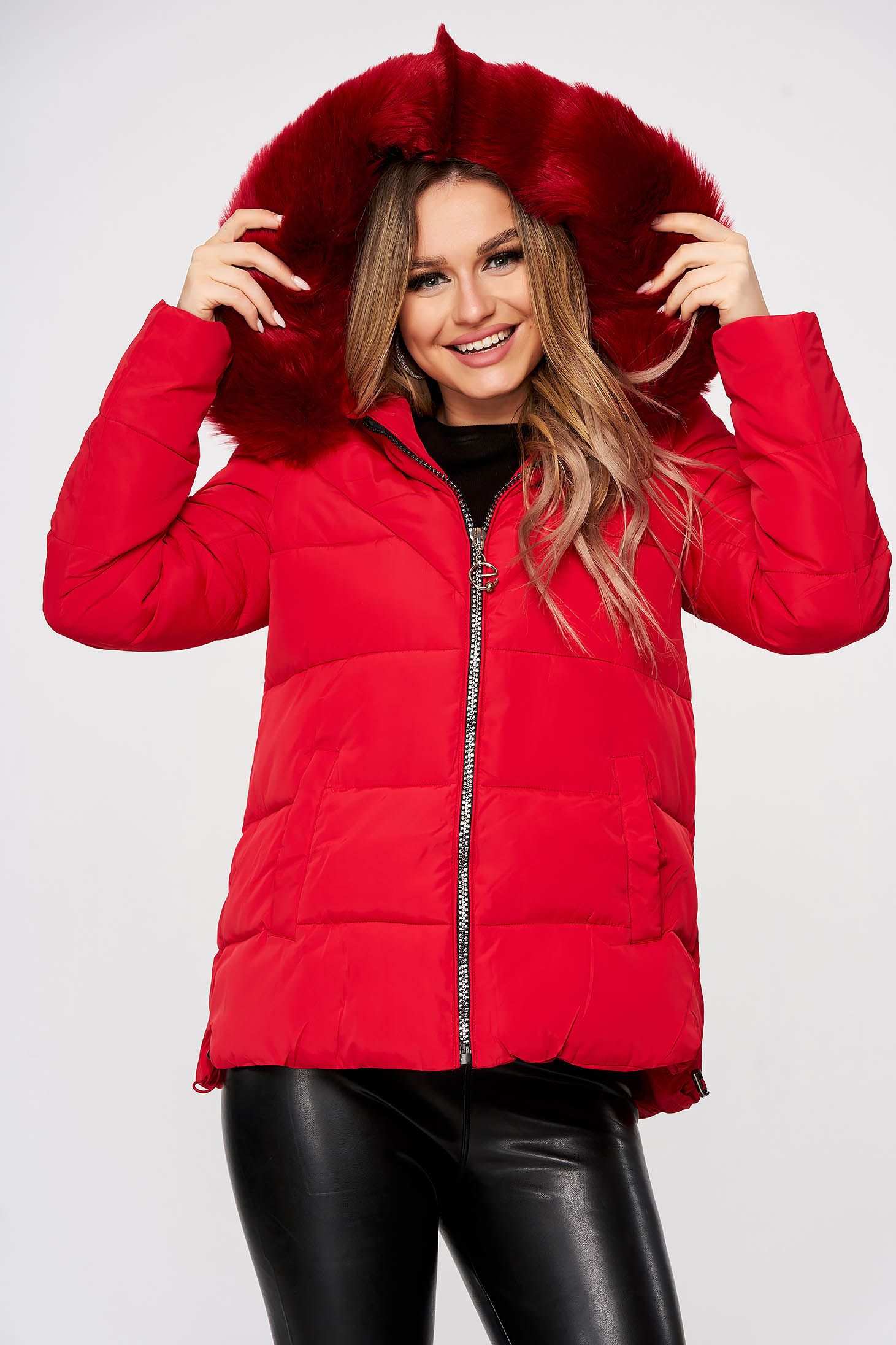 Red from slicker jacket with zipper details pockets with faux fur accessory detachable hood