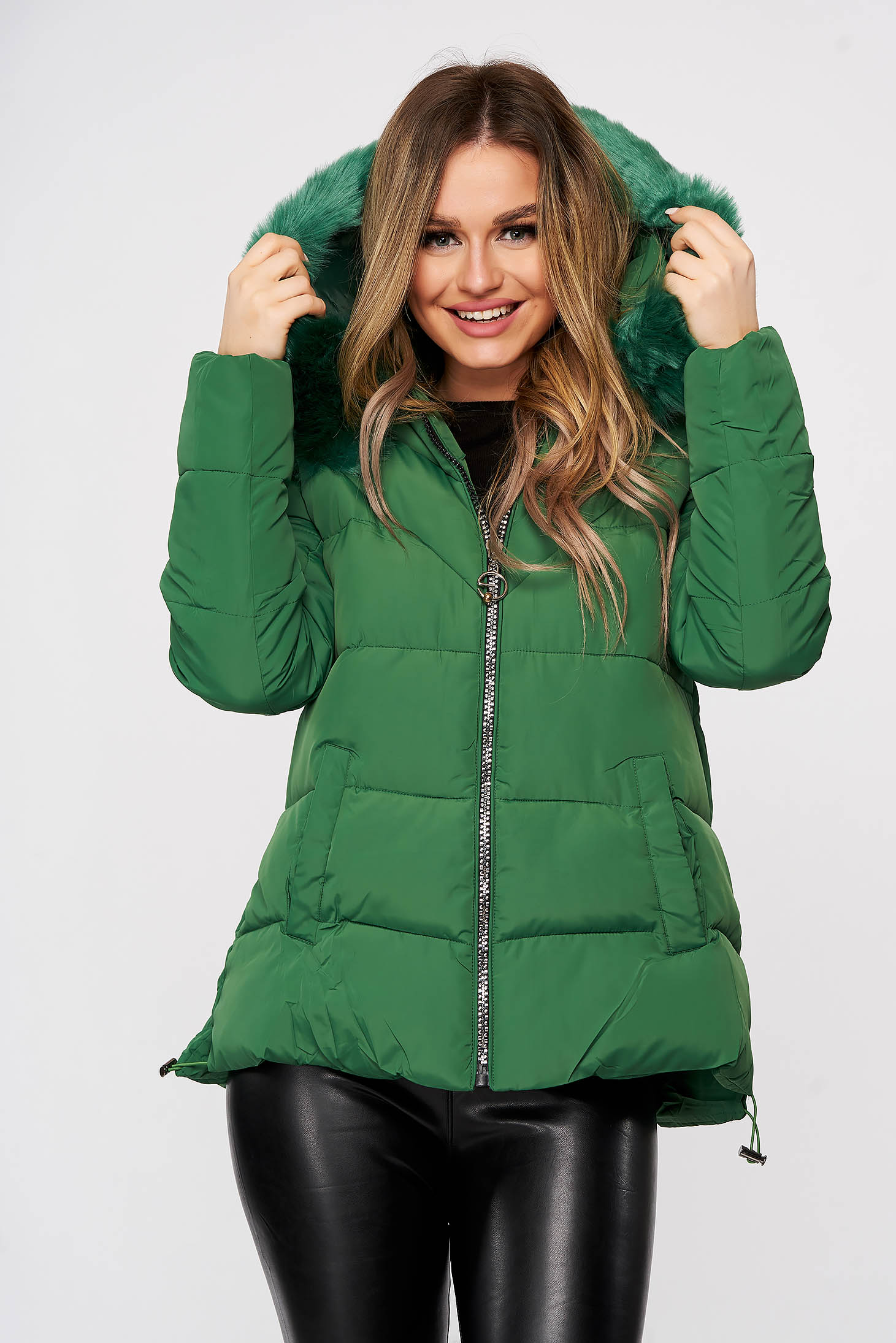 Green from slicker jacket with zipper details pockets with faux fur accessory detachable hood