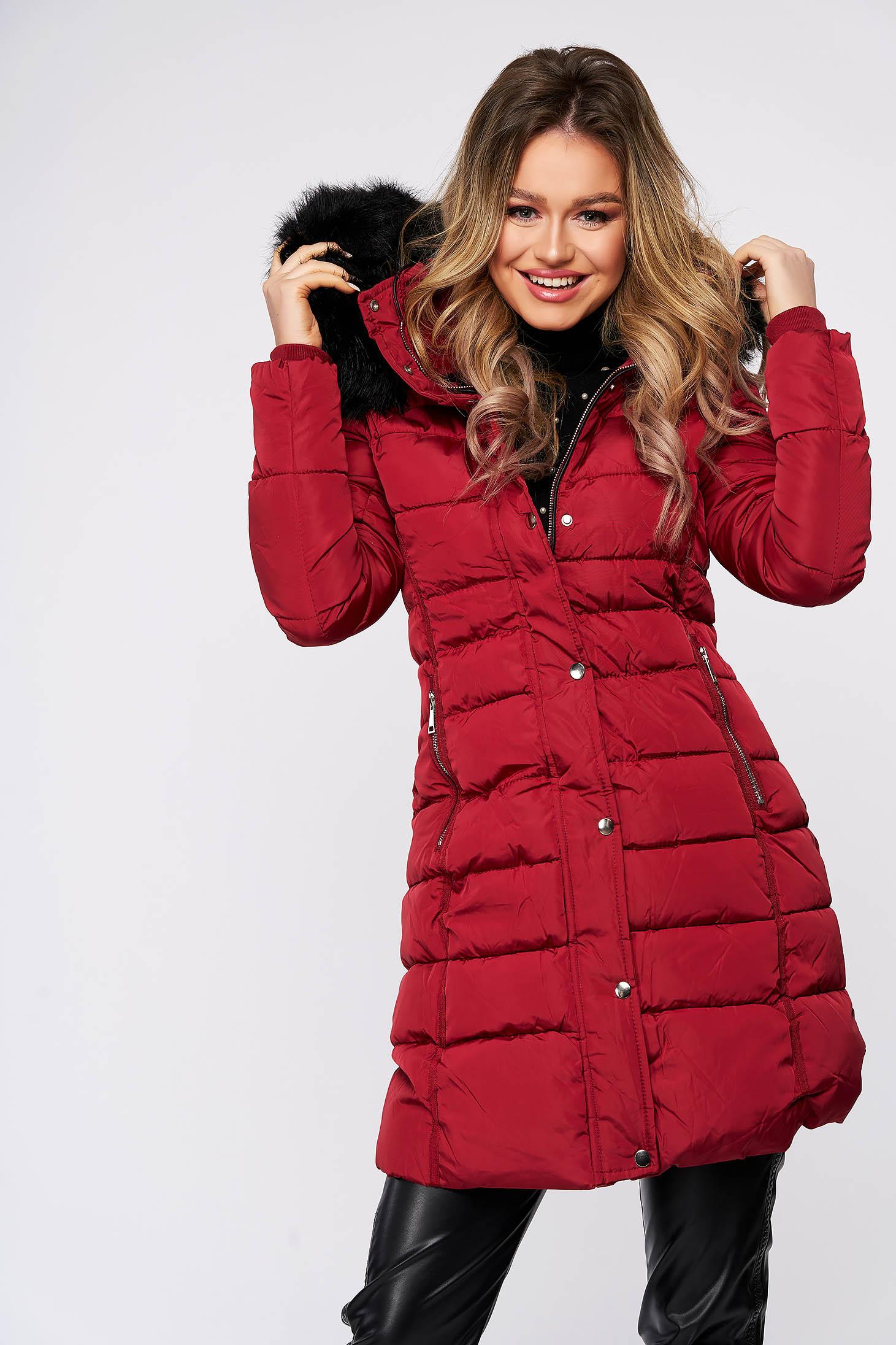 Burgundy jacket fur collar detachable collar long from slicker thin fur lining