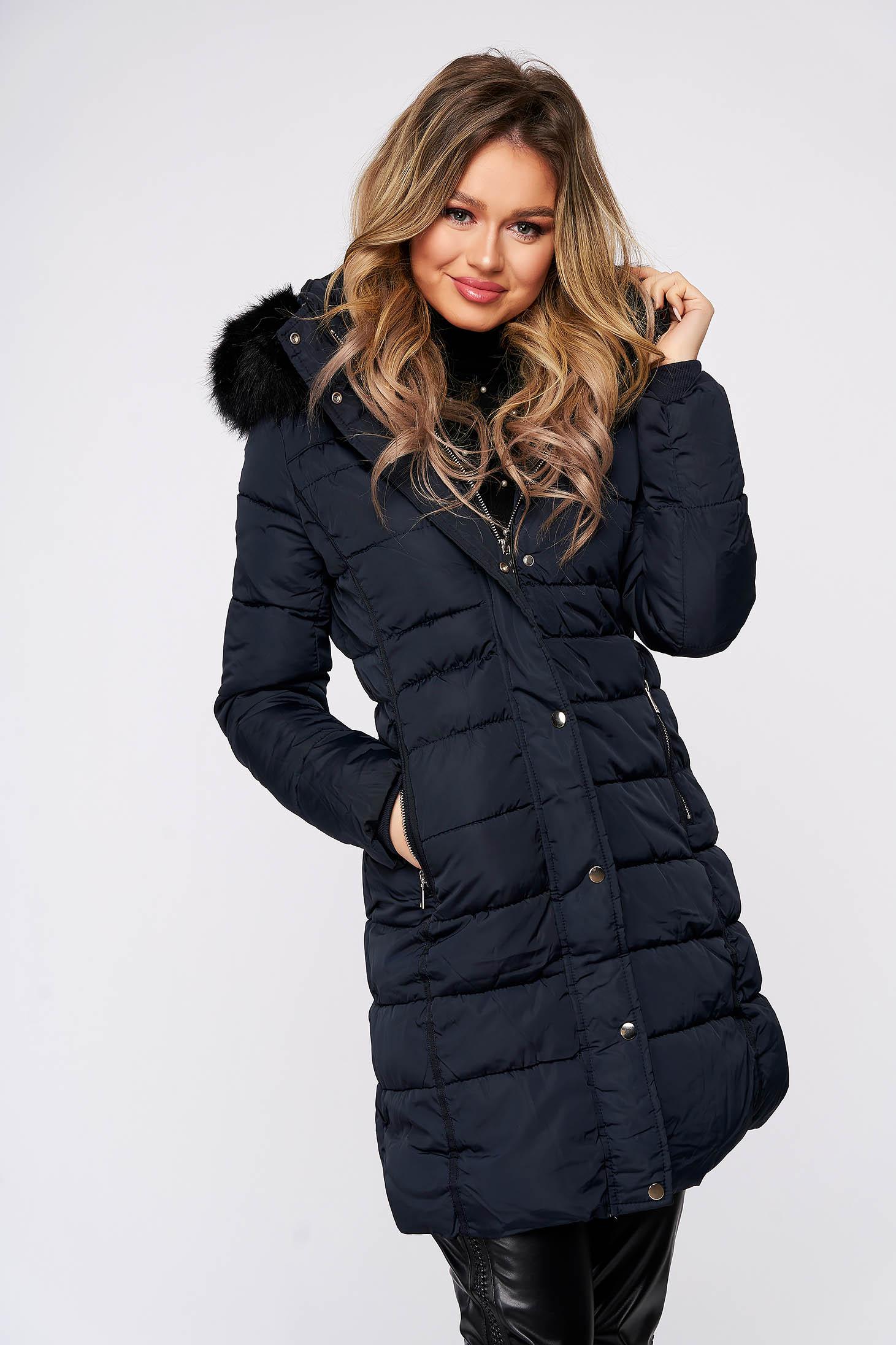 Darkblue jacket fur collar detachable collar long from slicker thin fur lining