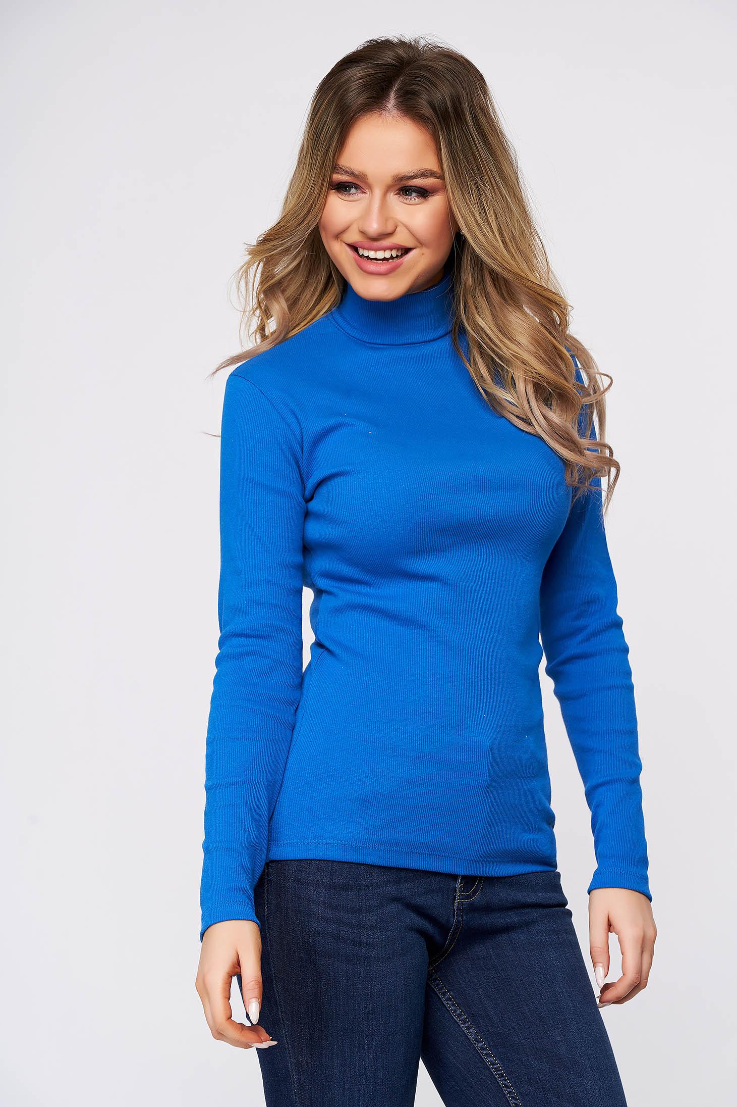 Bluza dama SunShine albastra din bumbac elastic reiat pe gat cu un croi mulat