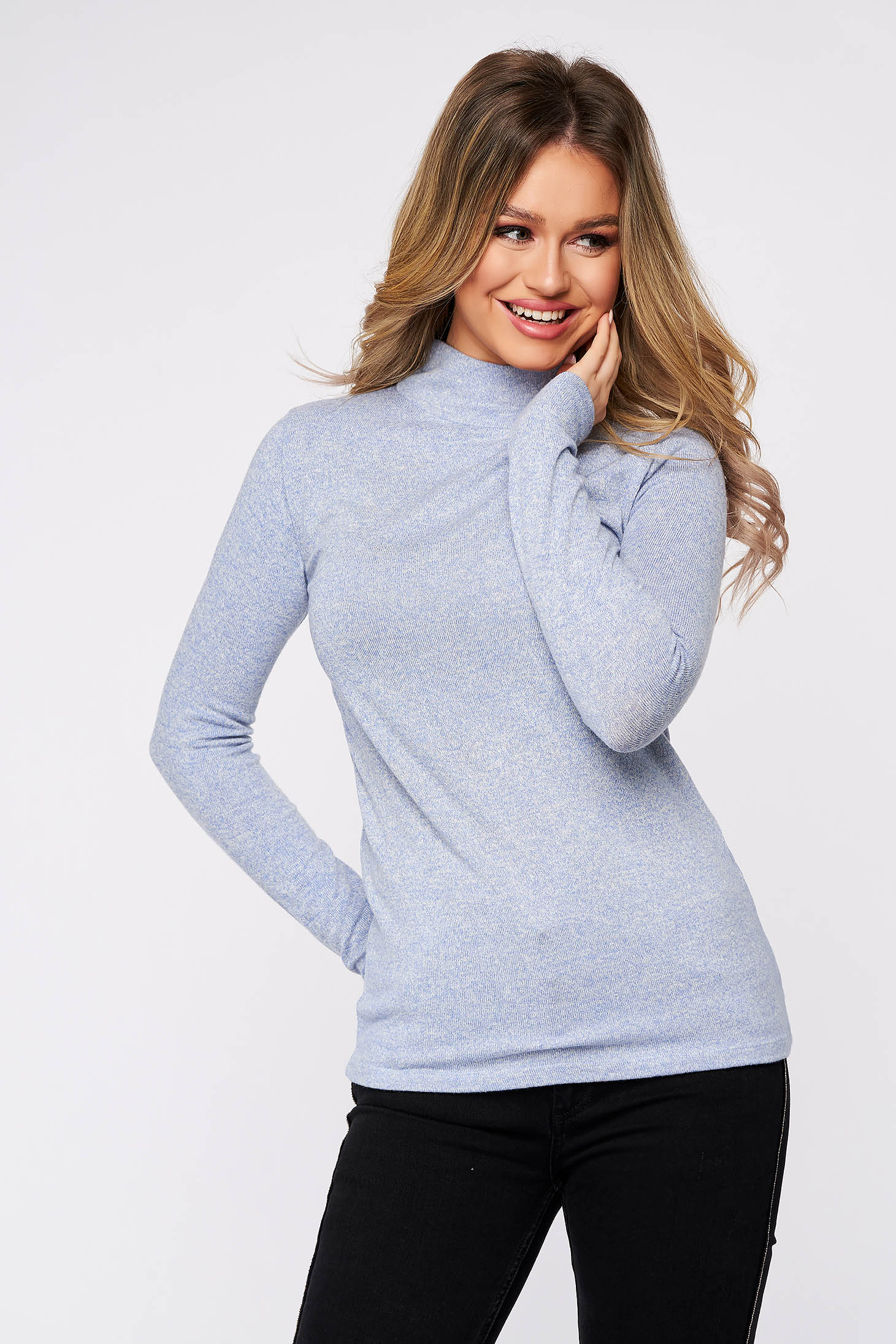 Lightblue women`s blouse cotton with turtle neck from elastic and fine fabric soft fabric