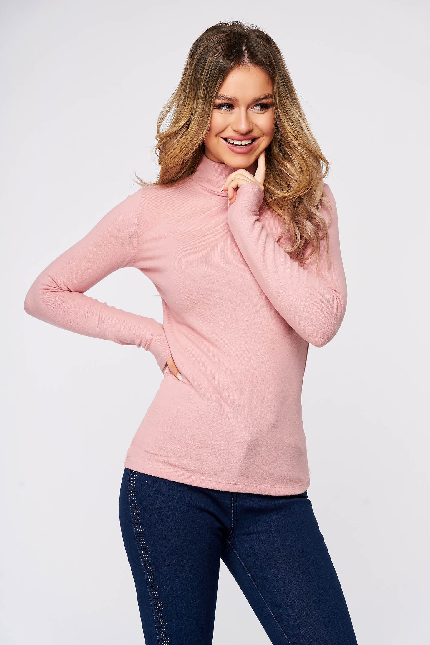 Lightpink women`s blouse cotton with turtle neck from elastic and fine fabric soft fabric