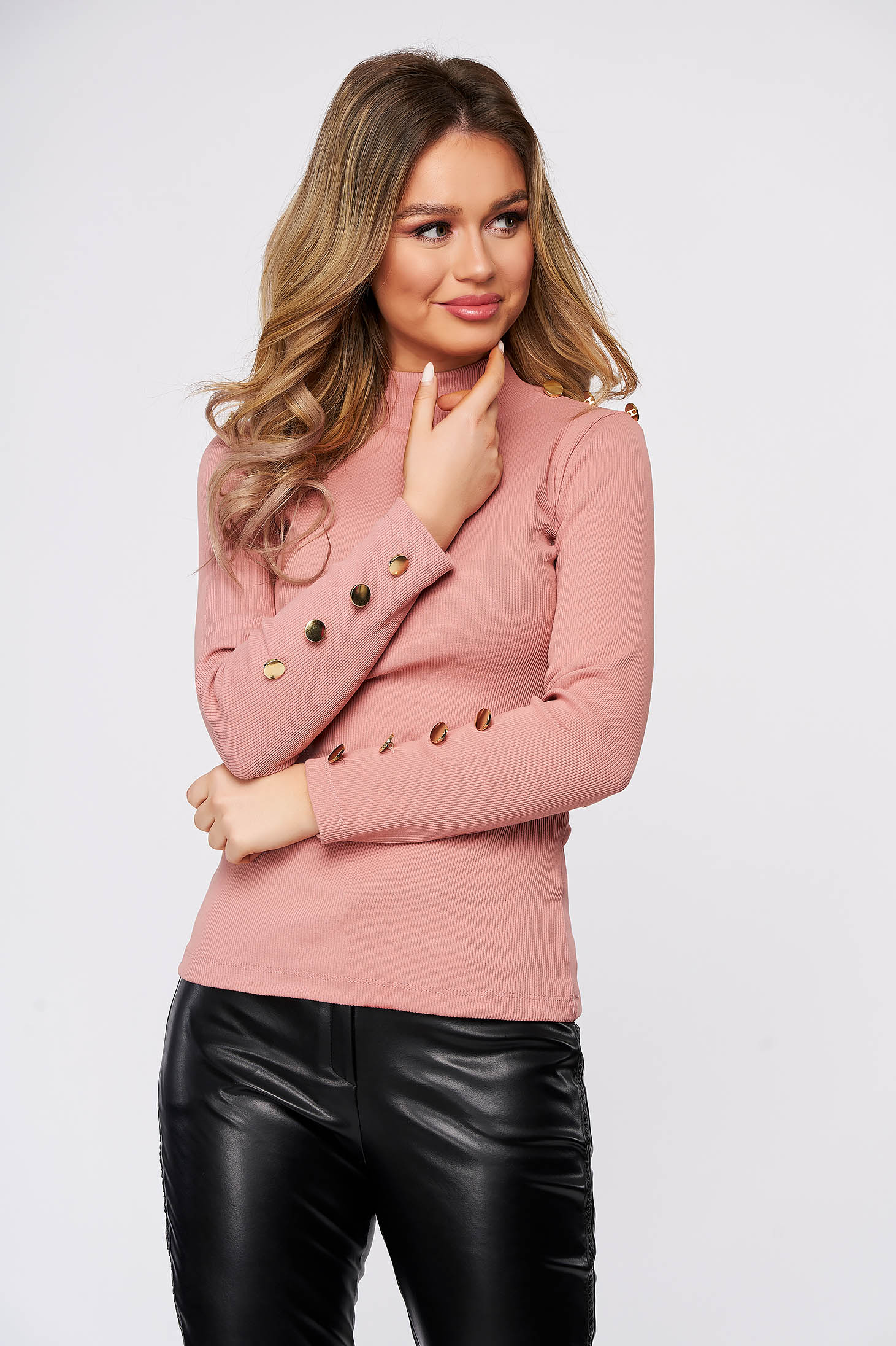 Pink women`s blouse cotton with button accessories with tented cut from elastic fabric from striped fabric