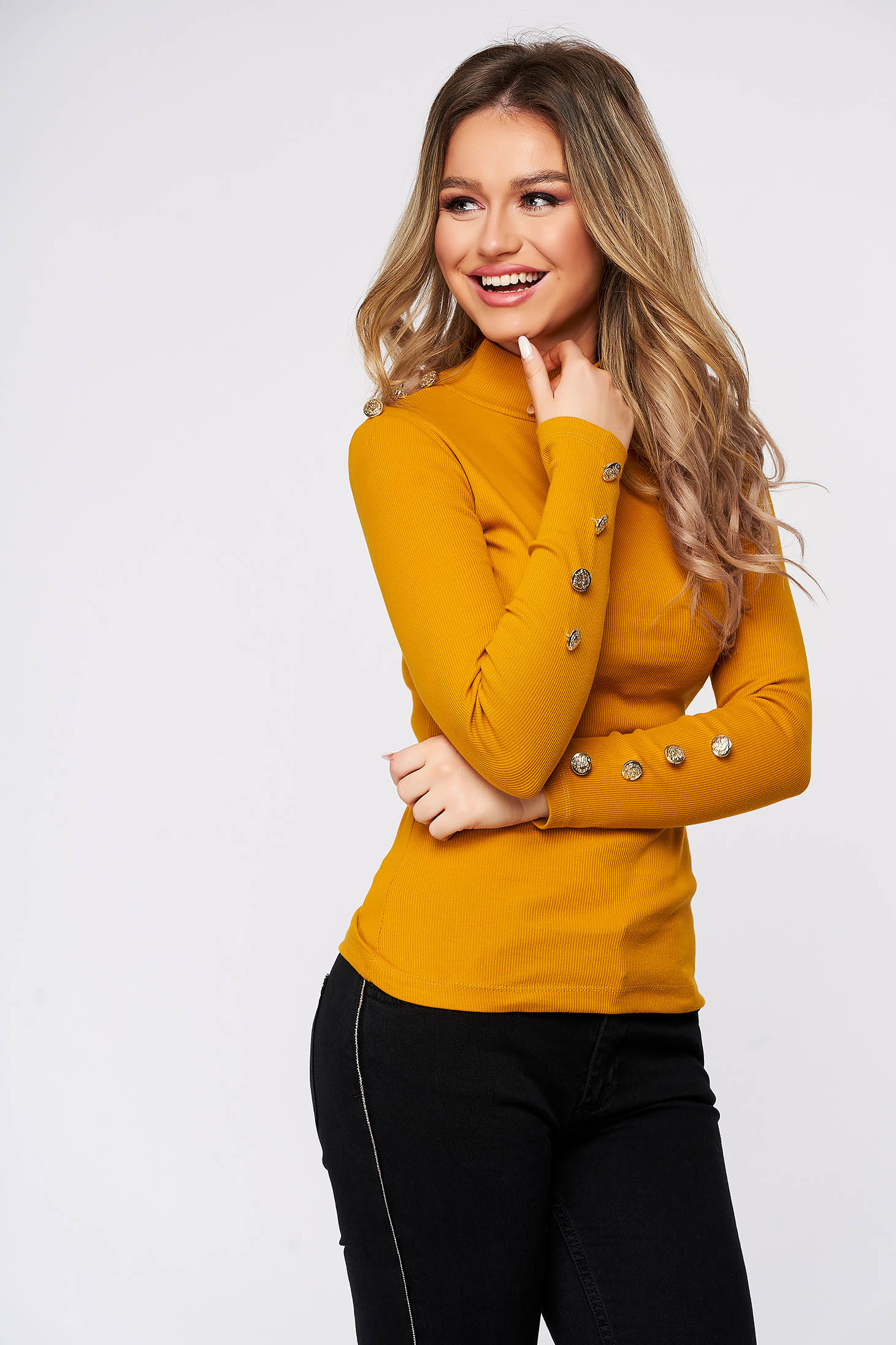 Mustard women`s blouse cotton with button accessories with tented cut from elastic fabric from striped fabric