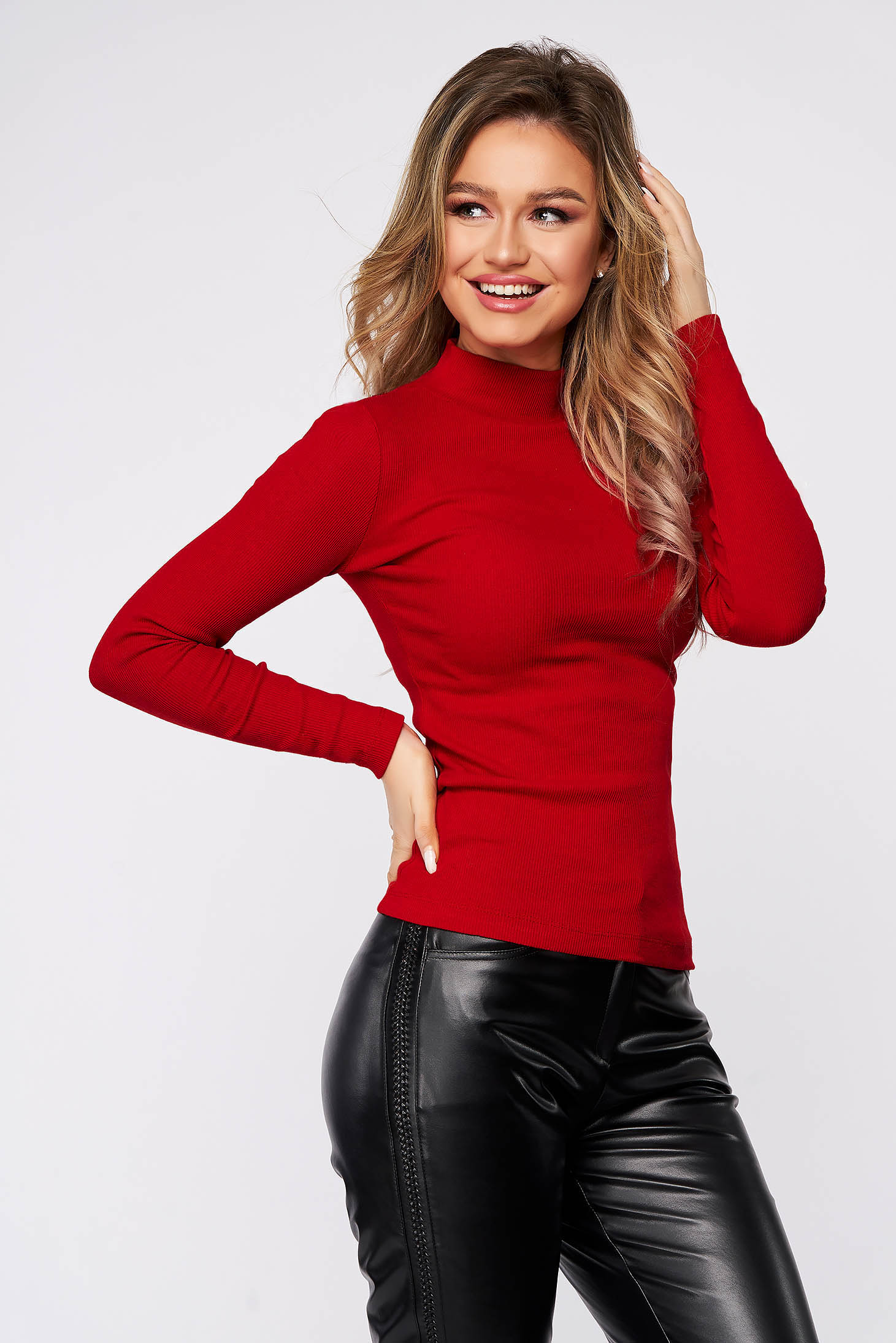Red women`s blouse cotton from striped fabric from elastic fabric tented turtleneck