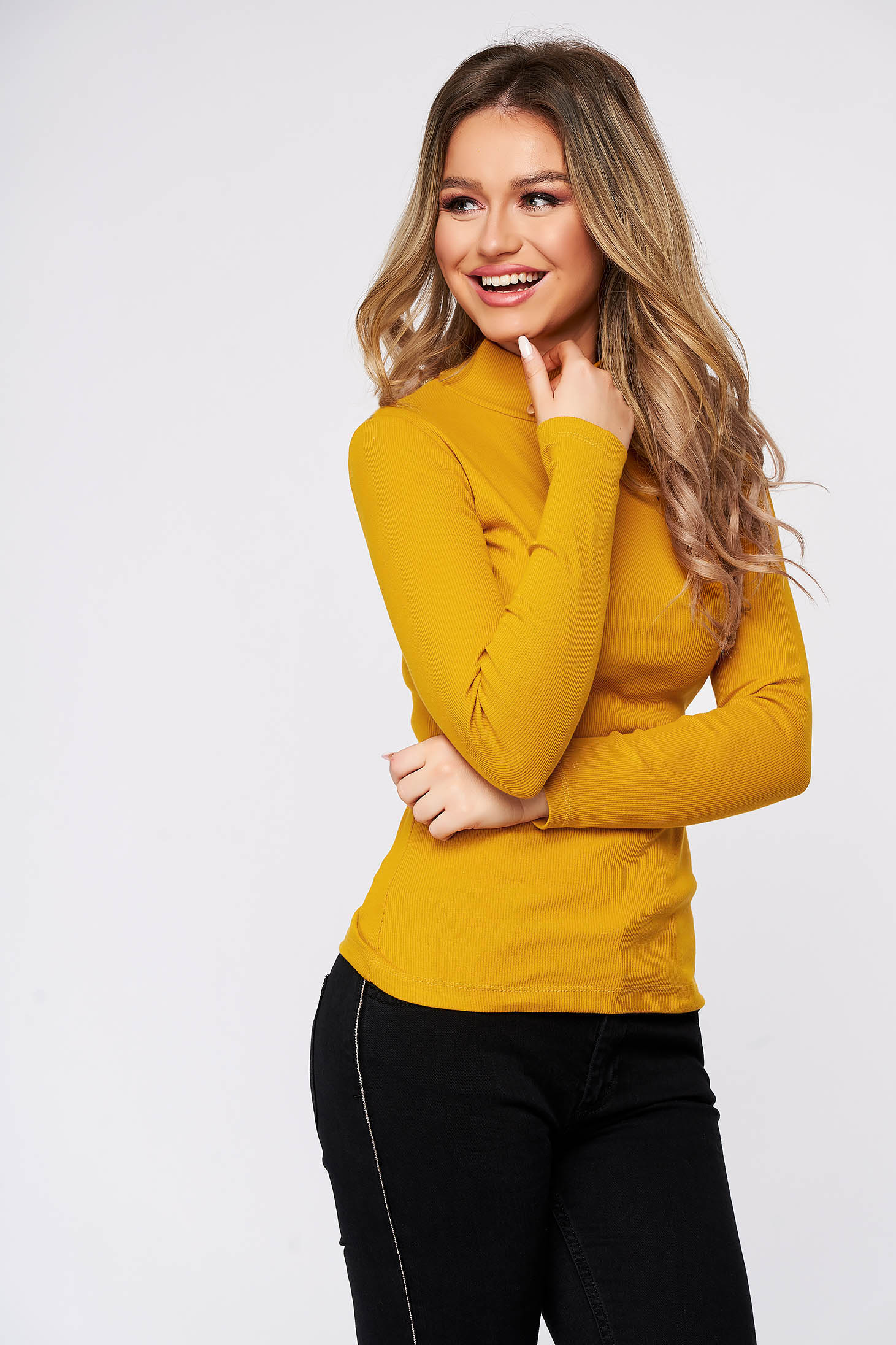 Yellow women`s blouse cotton from striped fabric from elastic fabric tented turtleneck