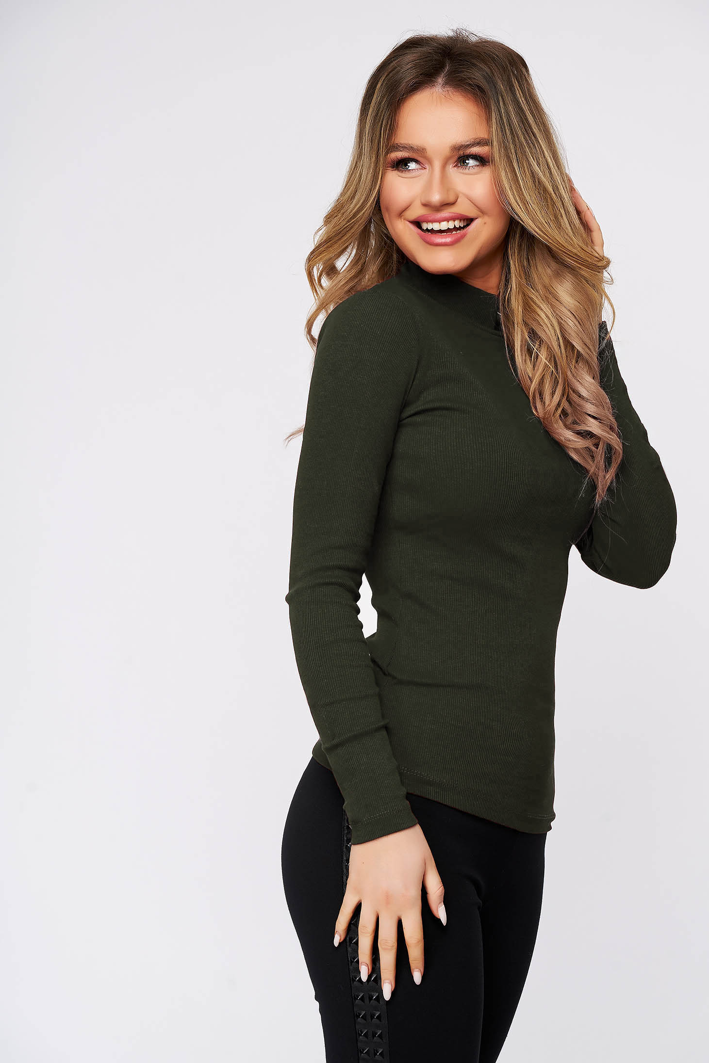 Khaki women`s blouse cotton from striped fabric from elastic fabric tented turtleneck