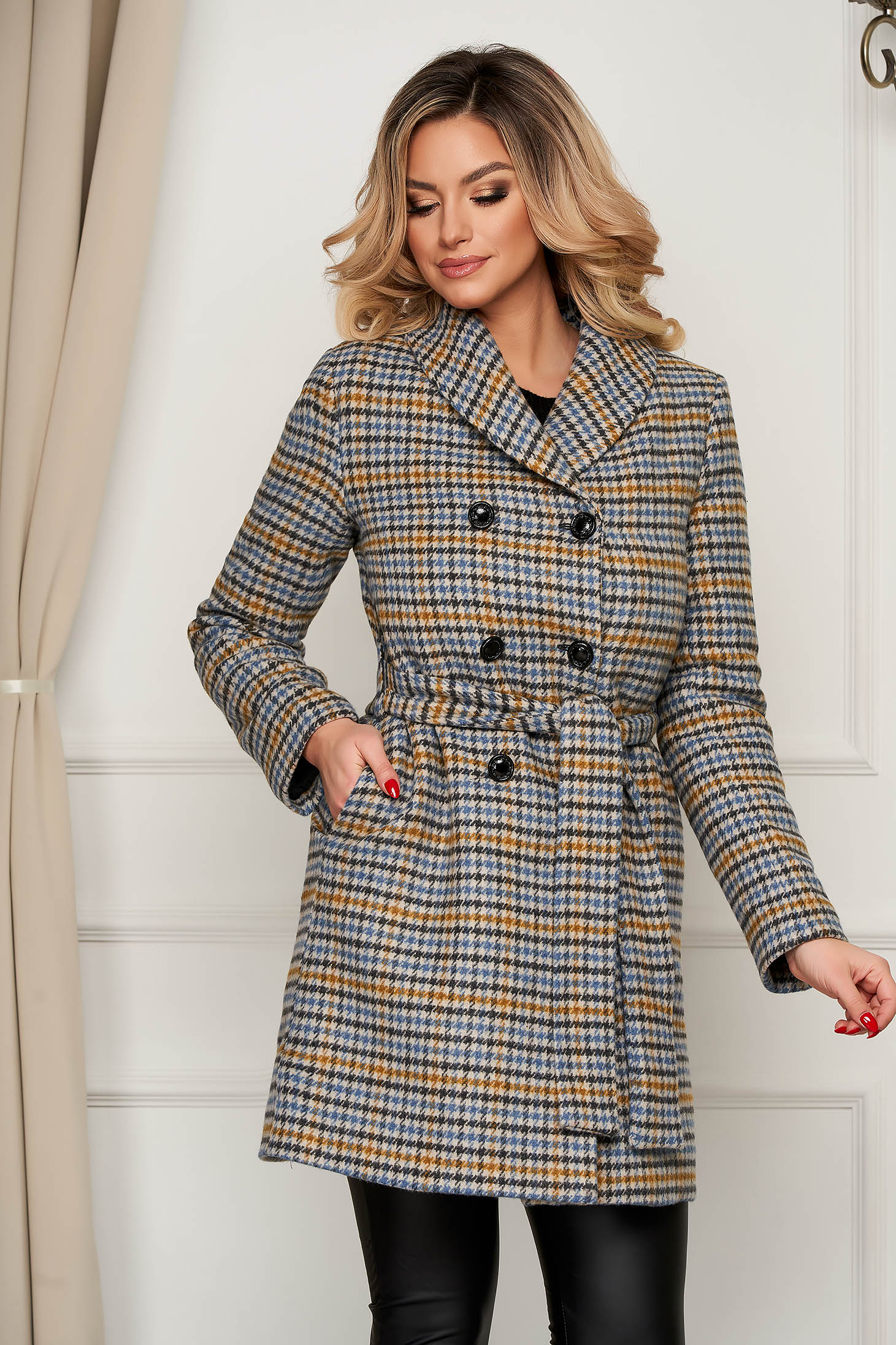 Coat wool straight accessorized with tied waistband office with stripes