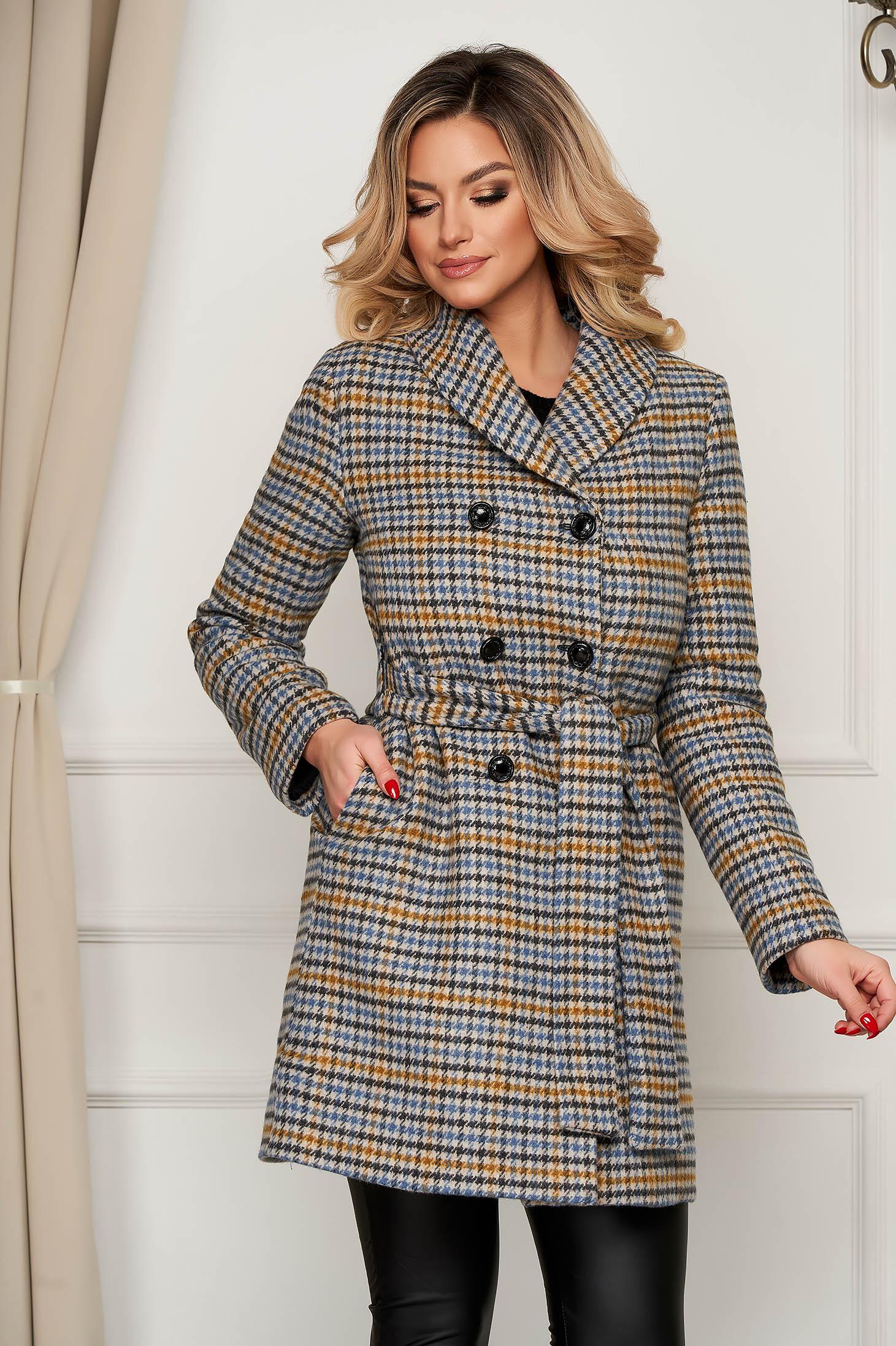 Palton Artista office din lana cu croi drept accesorizat cu cordon in carouri