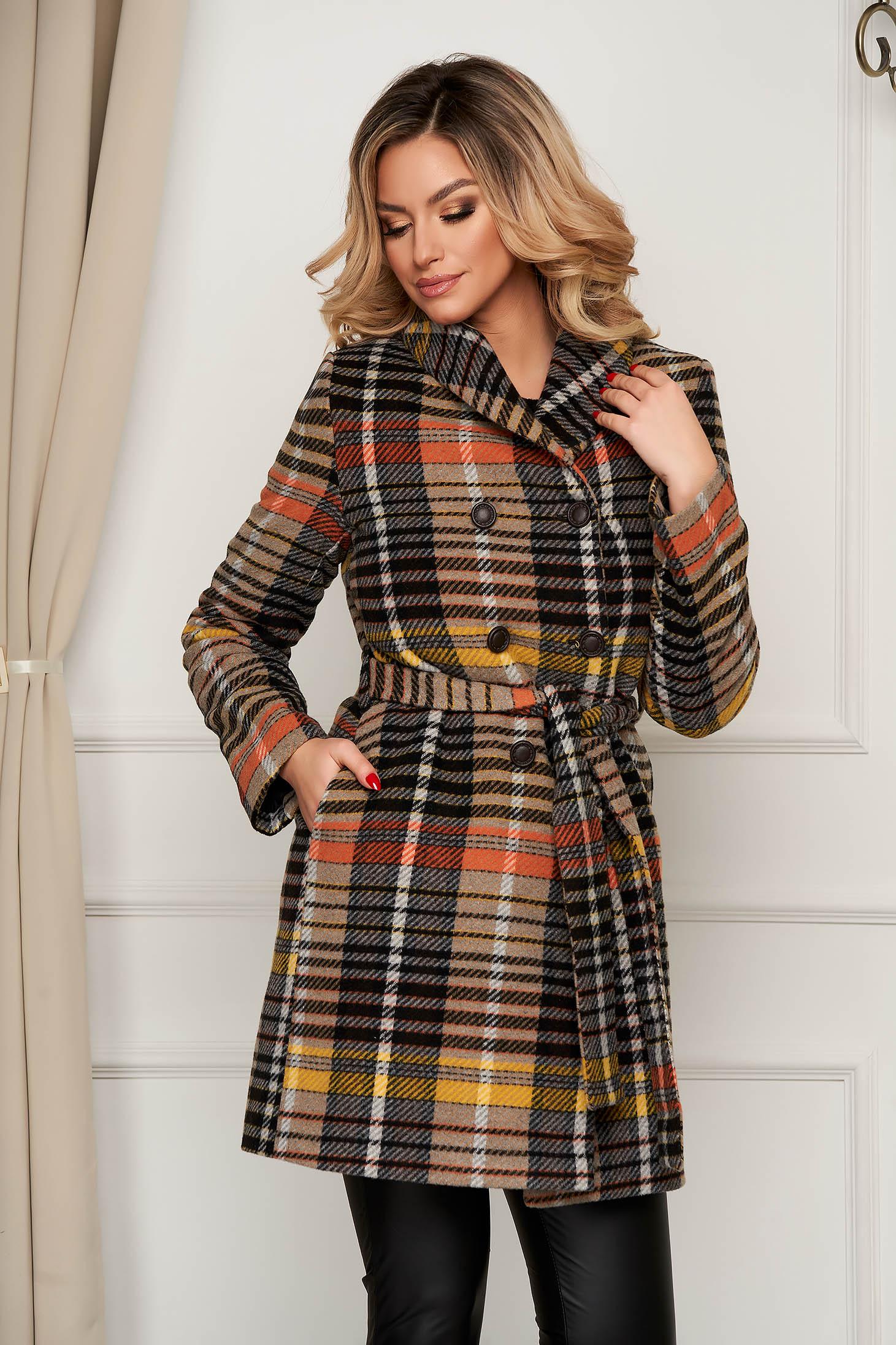 Palton Artista office in dungi din lana cu croi drept accesorizat cu cordon