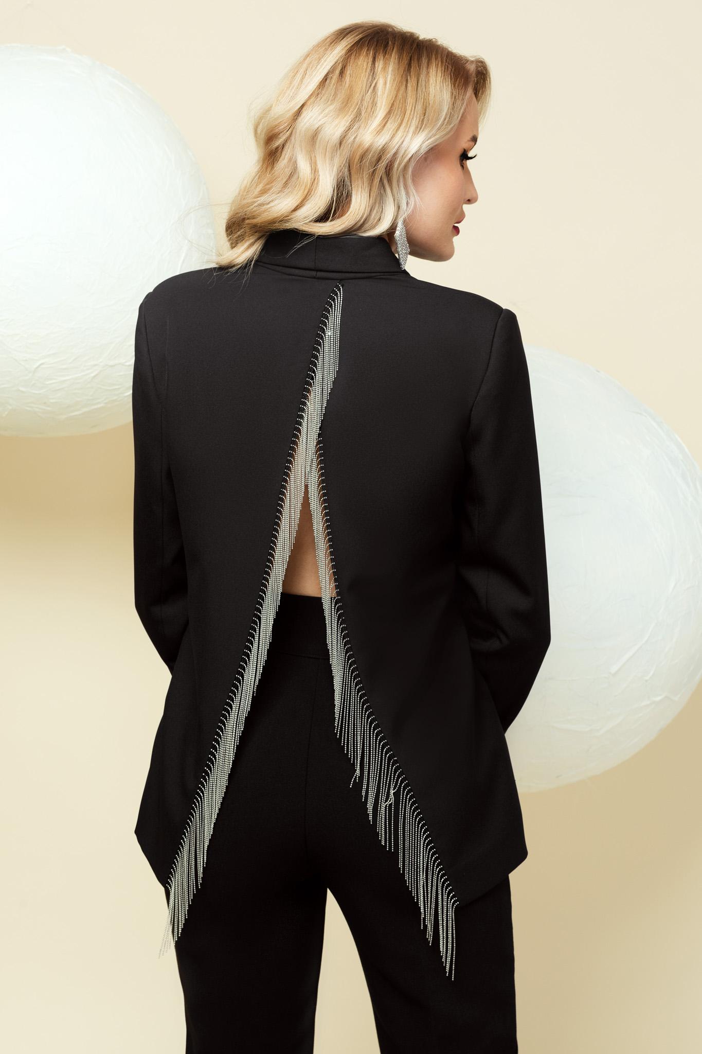 Cloth black jacket occasional straight with fringes back slit