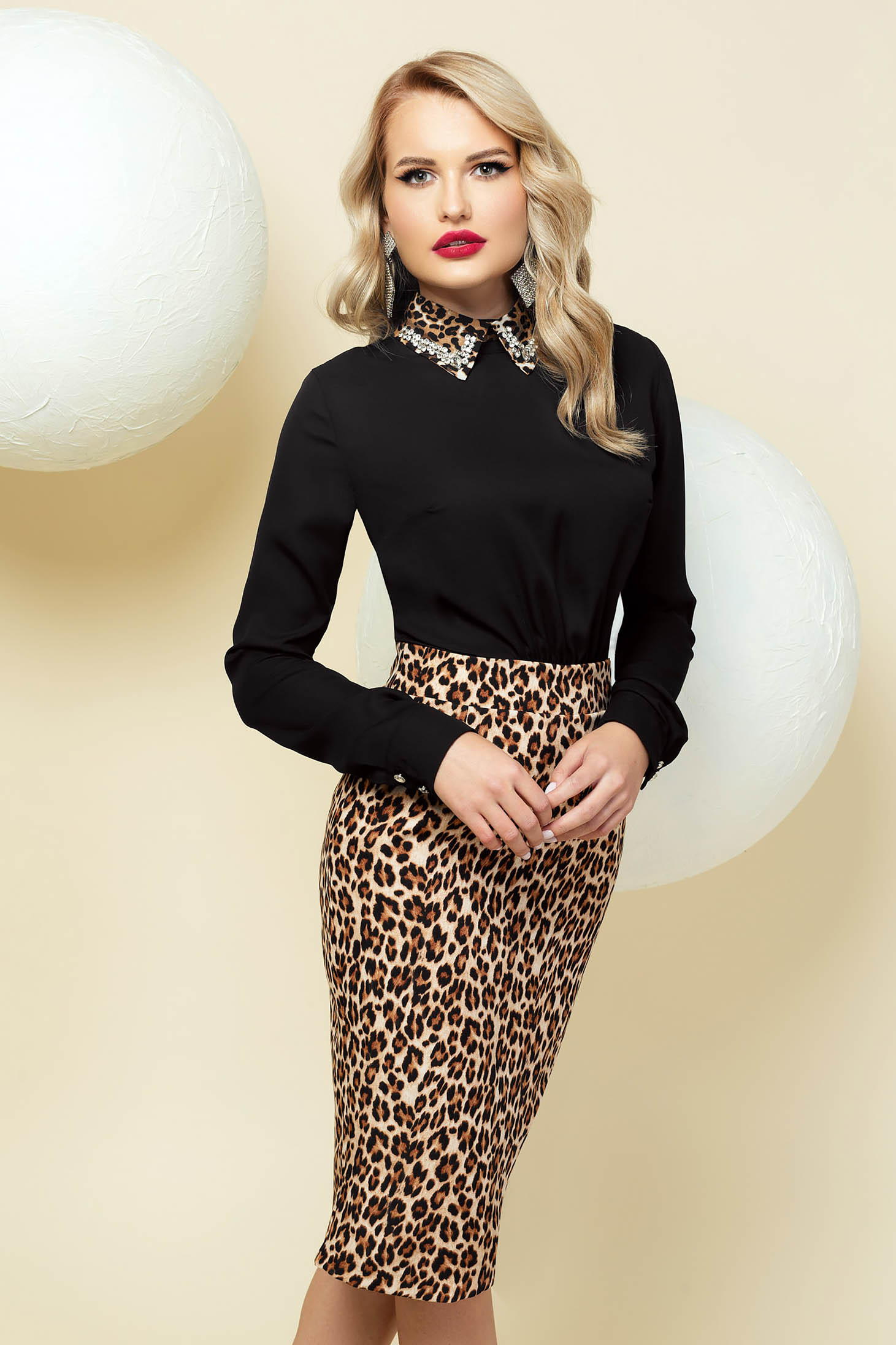 Midi occasional black dress pencil with animal print with collar with embellished accessories
