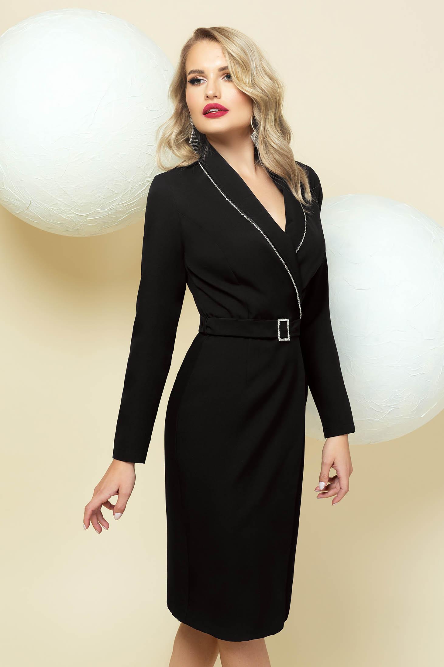 Fekete midi alkalmi zakó tipusú ruha strassz köves díszítéssel,öv kiegészítővel