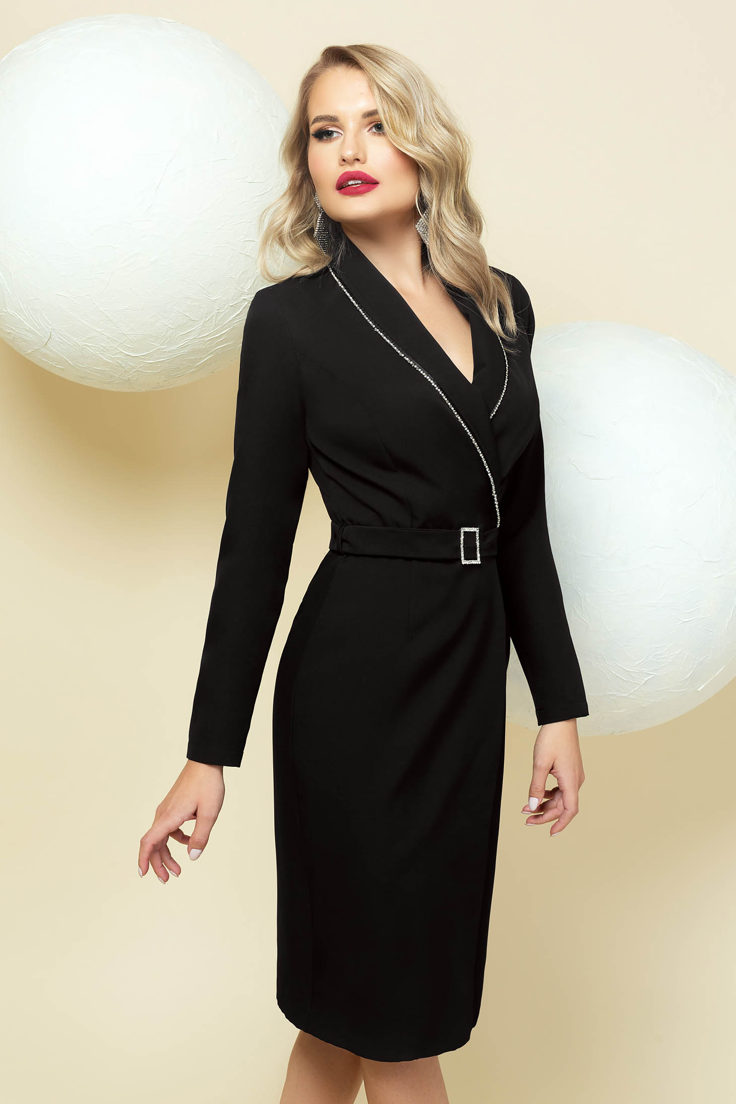 Midi dress occasional black blazer type wrap over front with crystal embellished details accessorized with belt