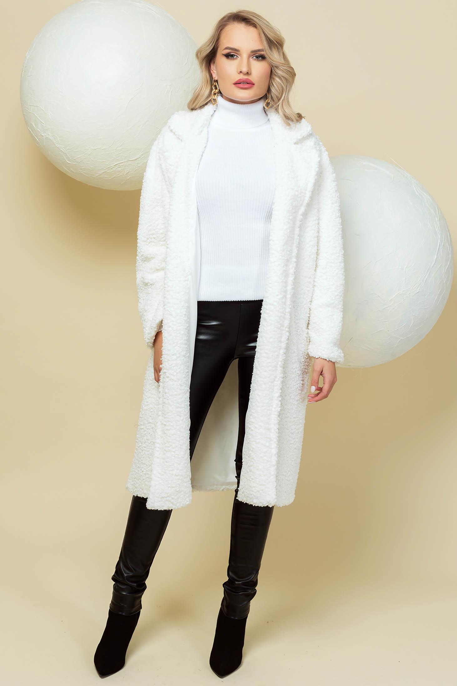 Palton PrettyGirl alb lung din material pufos tip blanita cu croi larg