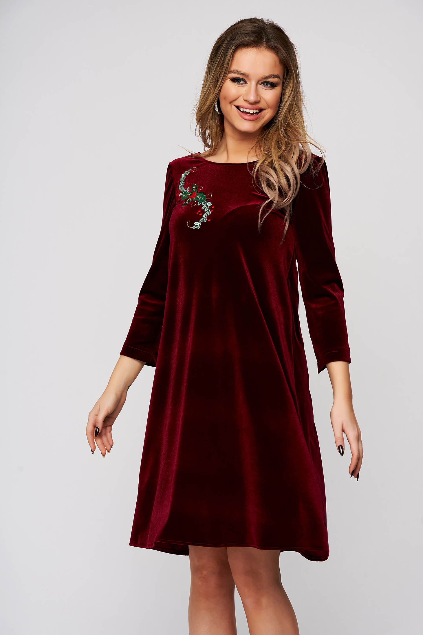 Dress StarShinerS burgundy occasional velvet flared v back neckline front embroidery with inside lining