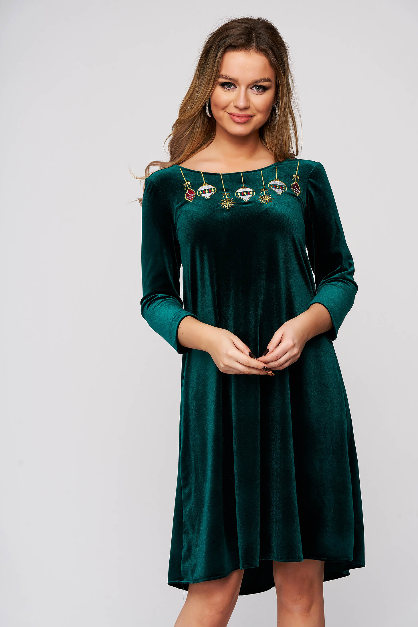 Dress StarShinerS green occasional velvet flared v back neckline front embroidery with inside lining