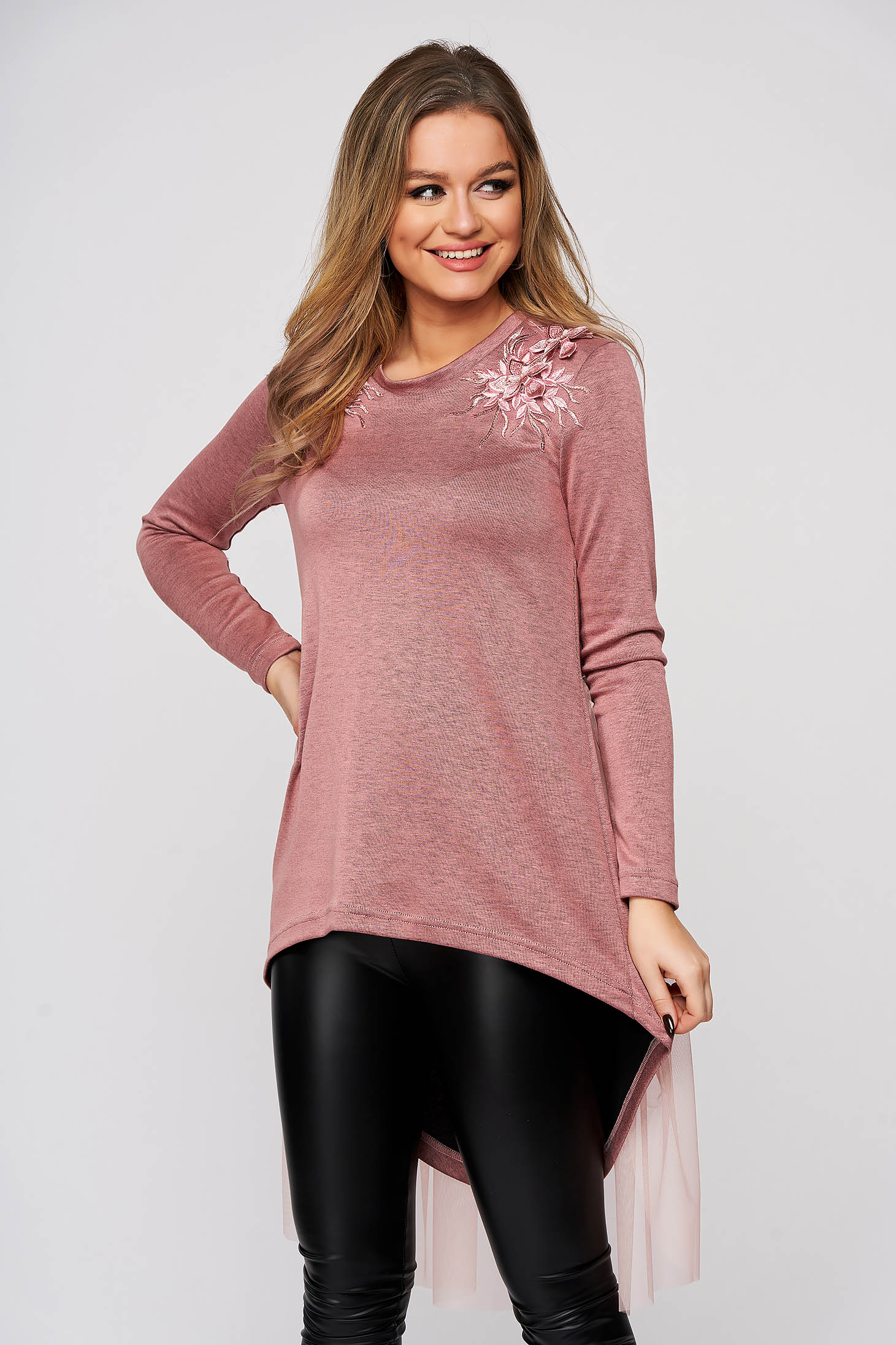 Women`s blouse StarShinerS lightpink asymmetrical flared with net accessory with crystal embellished details