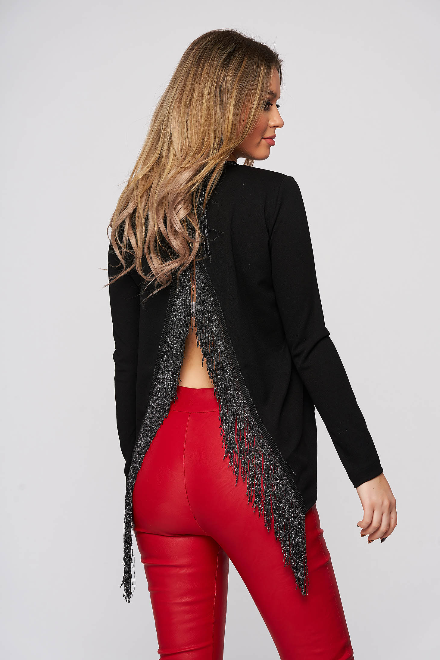 Women`s blouse StarShinerS black clubbing with cut back with fringes