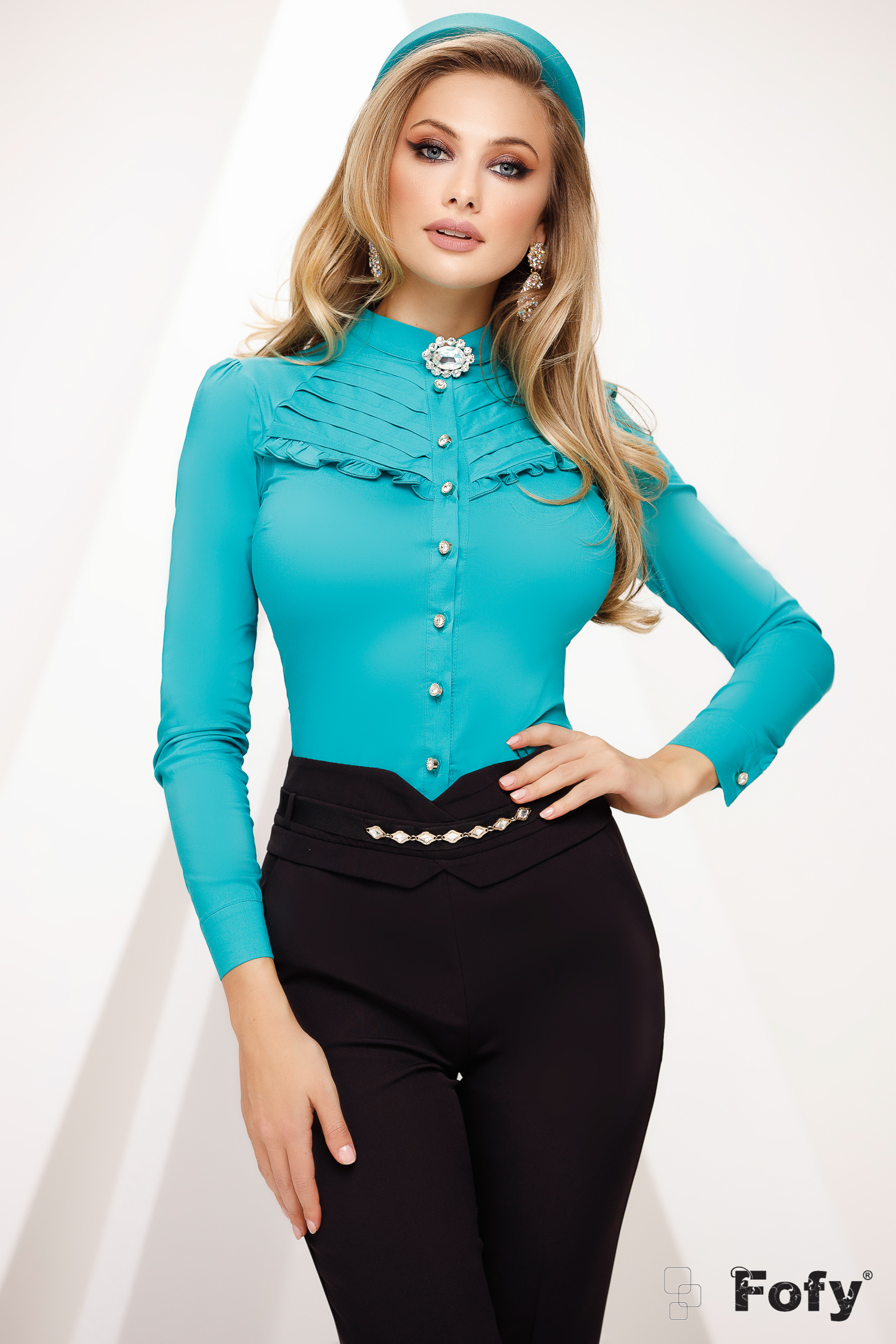 Green women`s shirt with lace details office tented slightly transparent fabric