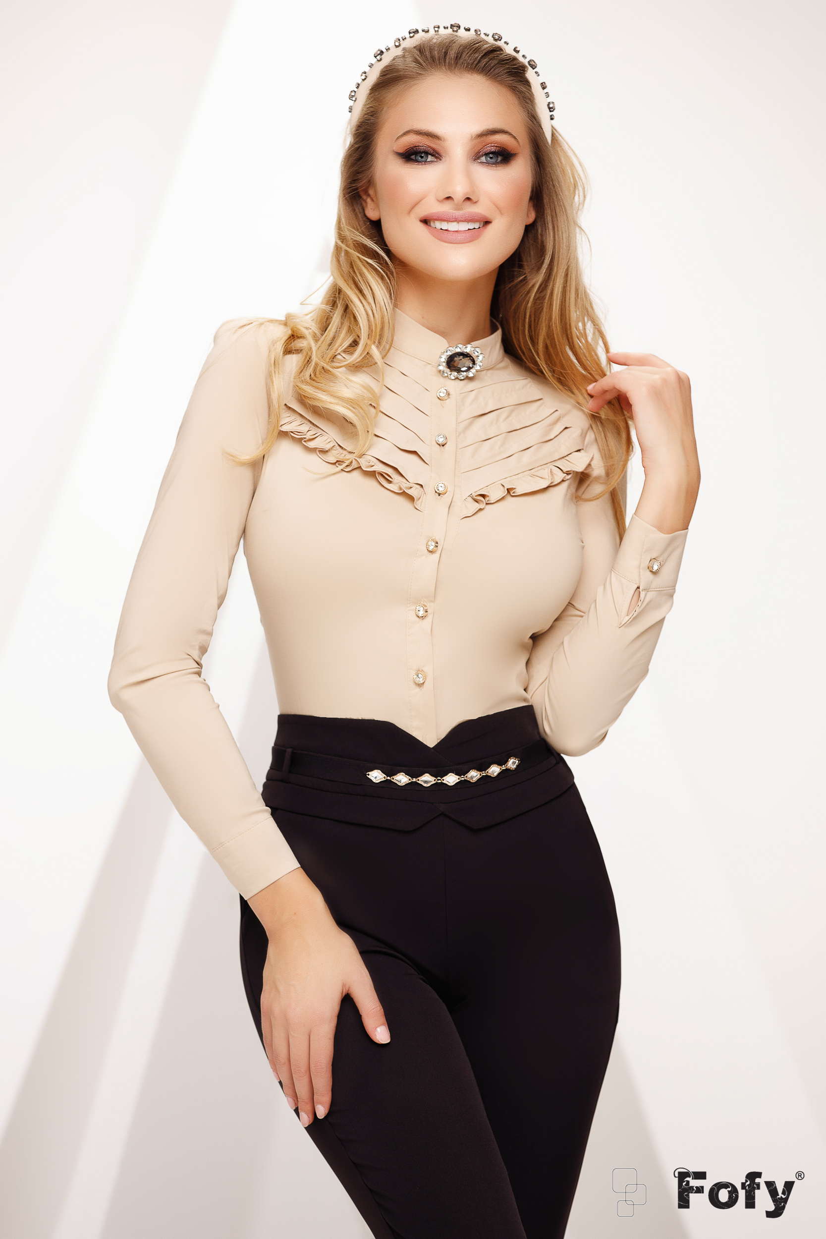 Cream women`s shirt with lace details office tented slightly transparent fabric