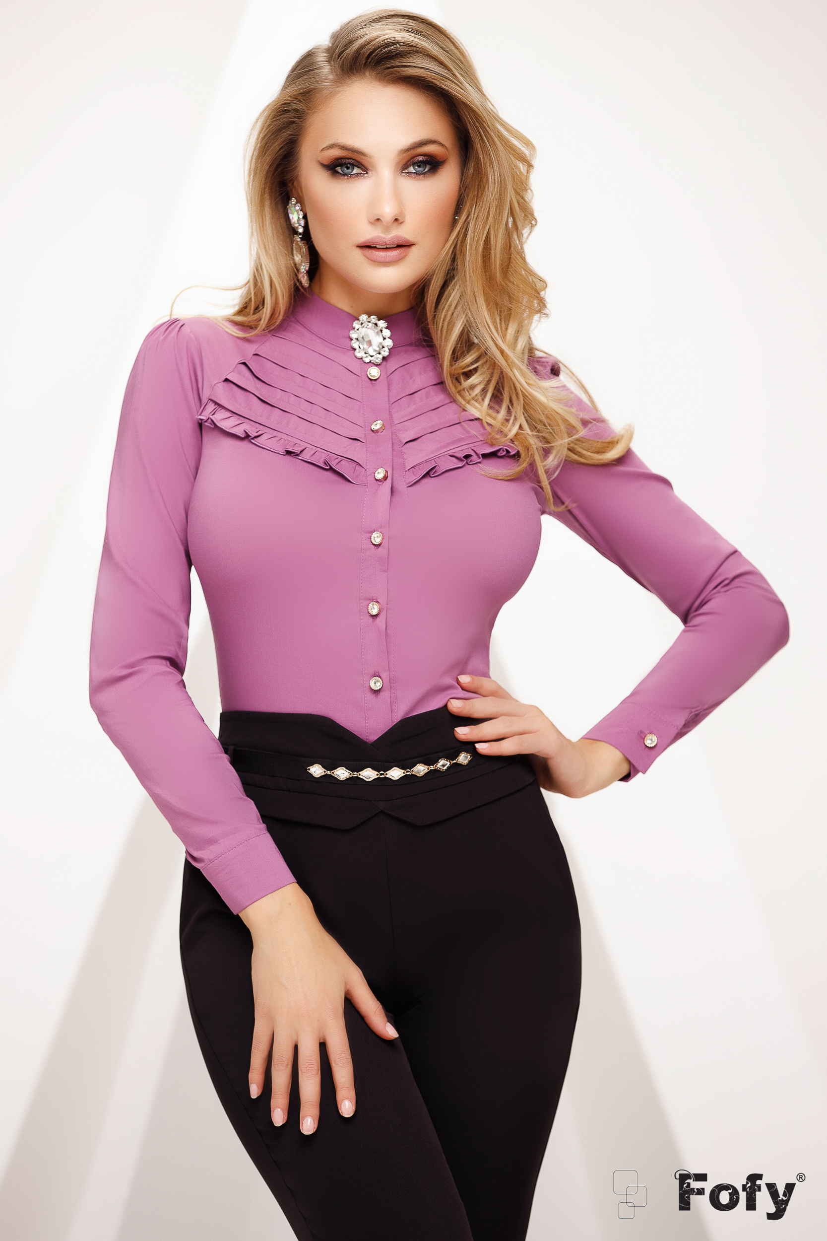 Purple women`s shirt with lace details office tented slightly transparent fabric