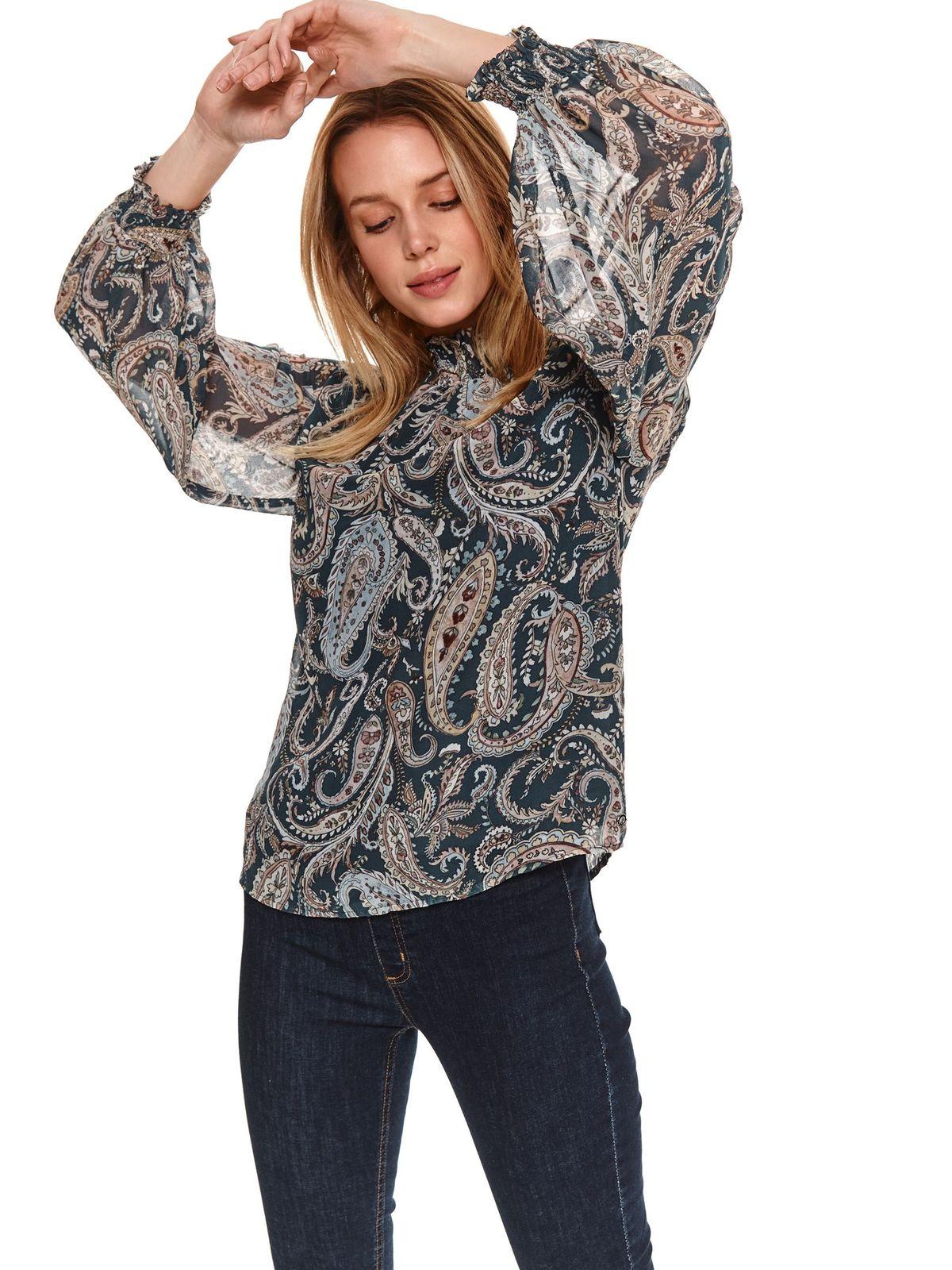 Bluza dama Top Secret casual cu croi larg pe gat cu maneci largi transparente prinse in elastic