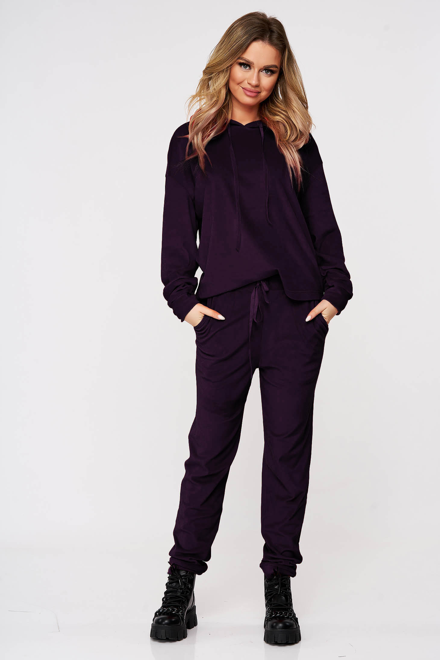 Purple sport 2 pieces casual velvet 2 pieces flared with undetachable hood