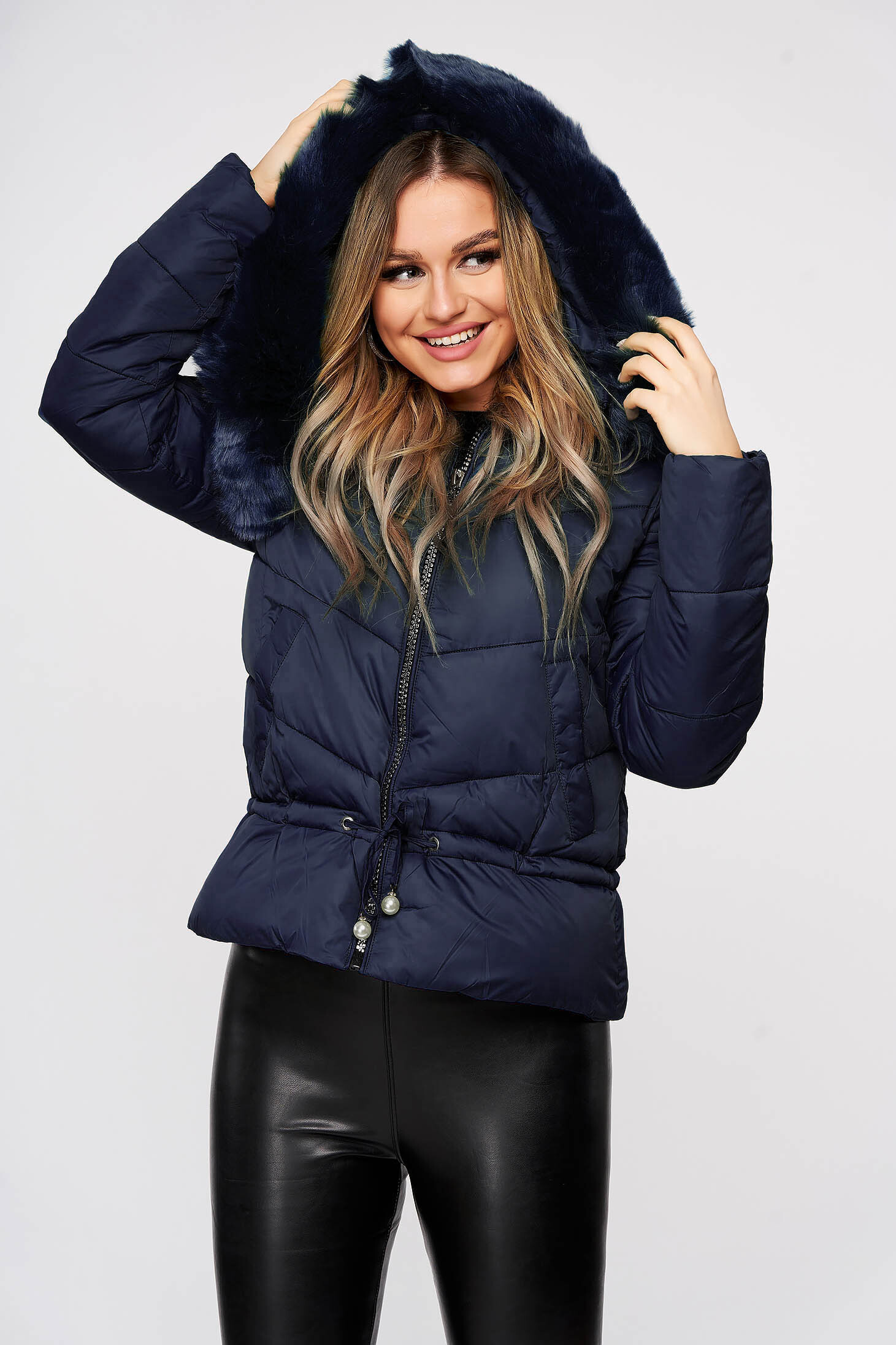 Jacket darkblue ribbon fastening with faux fur accessory detachable hood from slicker casual