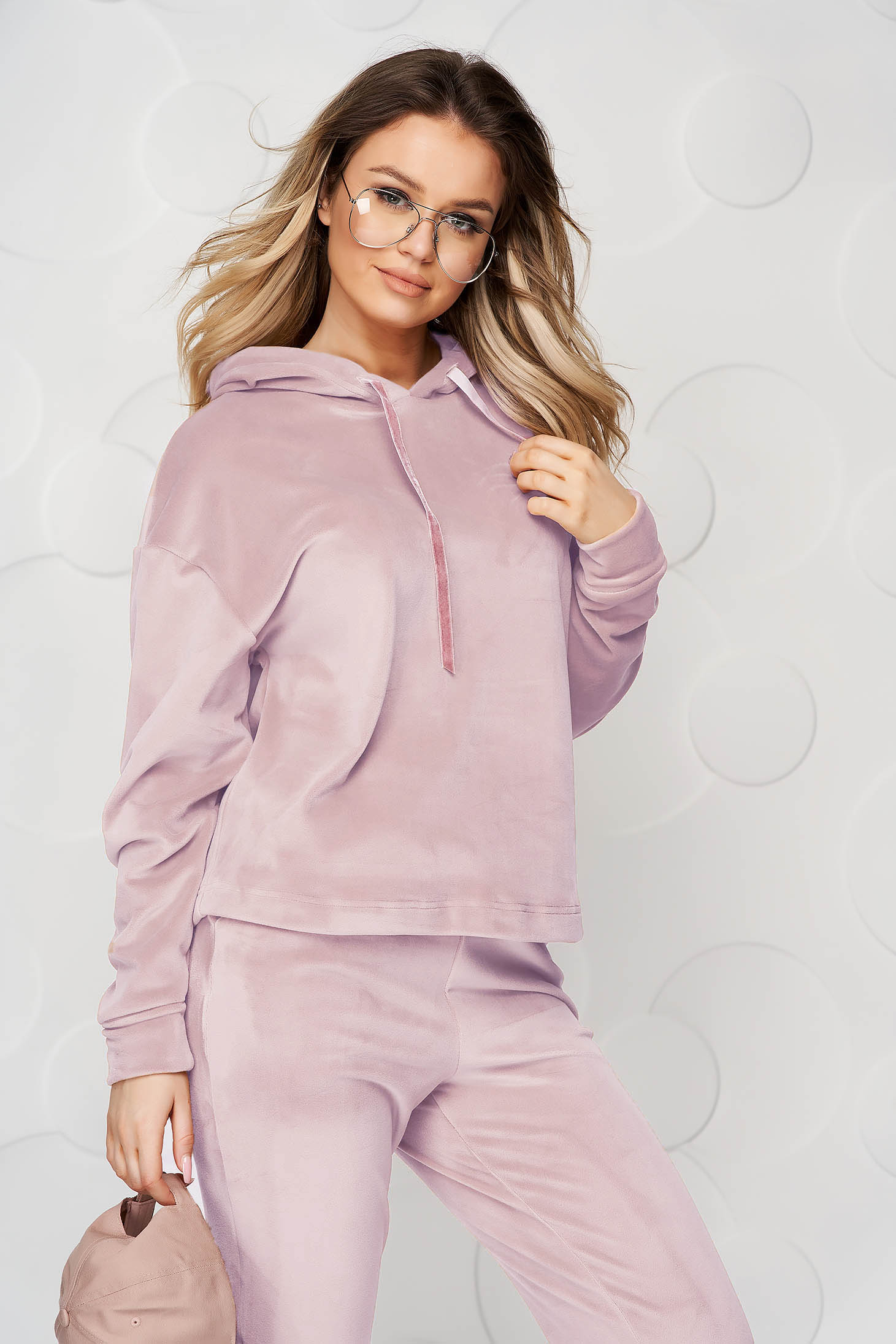 Lightpink casual sport 2 pieces 2 pieces loose fit with undetachable hood