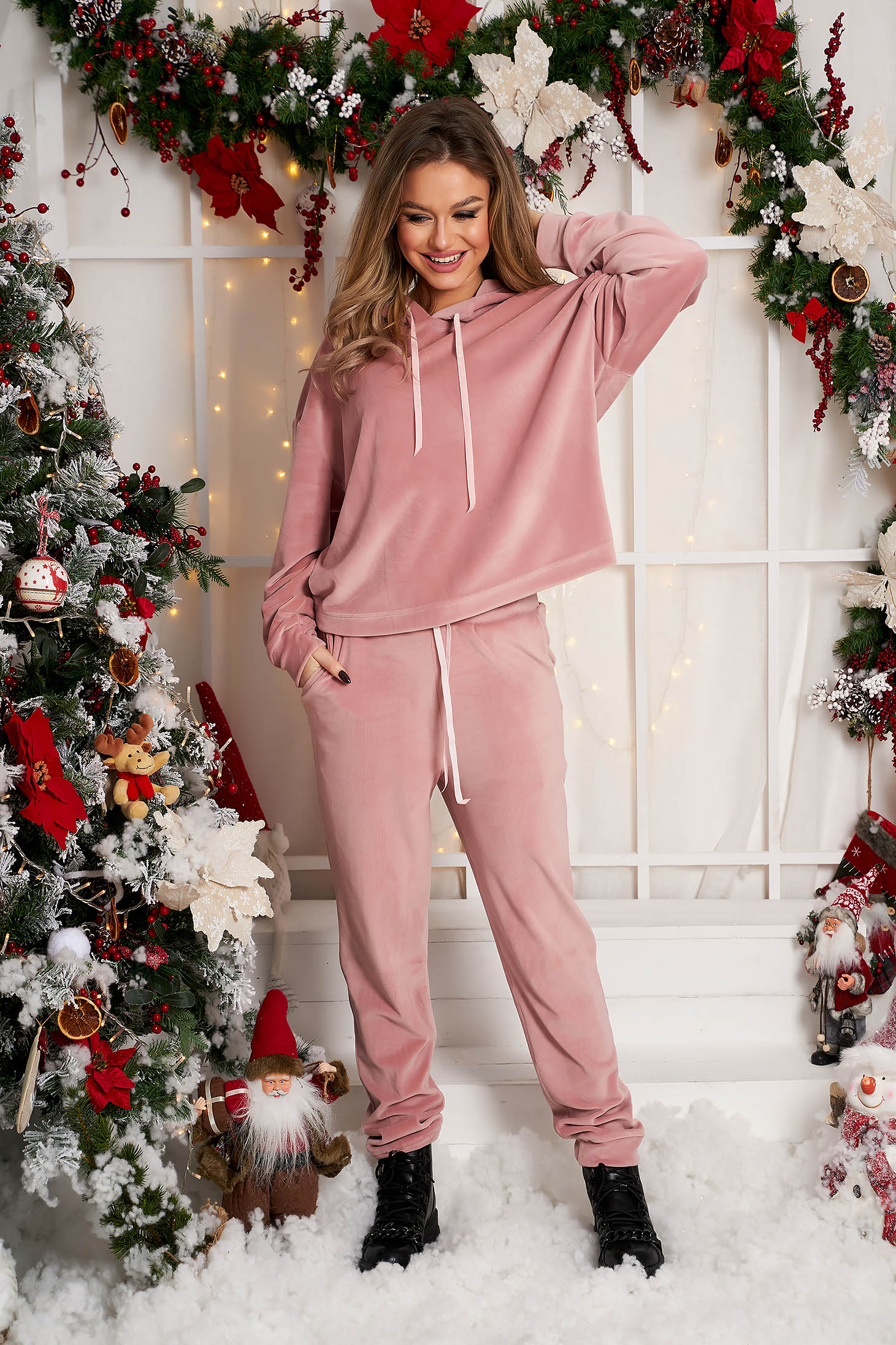 Lightpink sport 2 pieces casual velvet 2 pieces flared with undetachable hood
