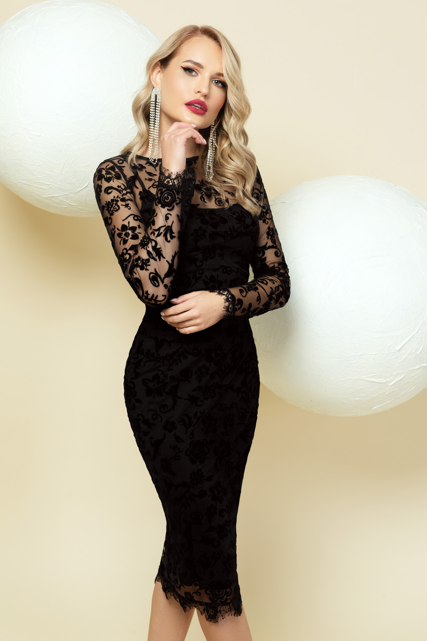 Dress black occasional pencil lace overlay