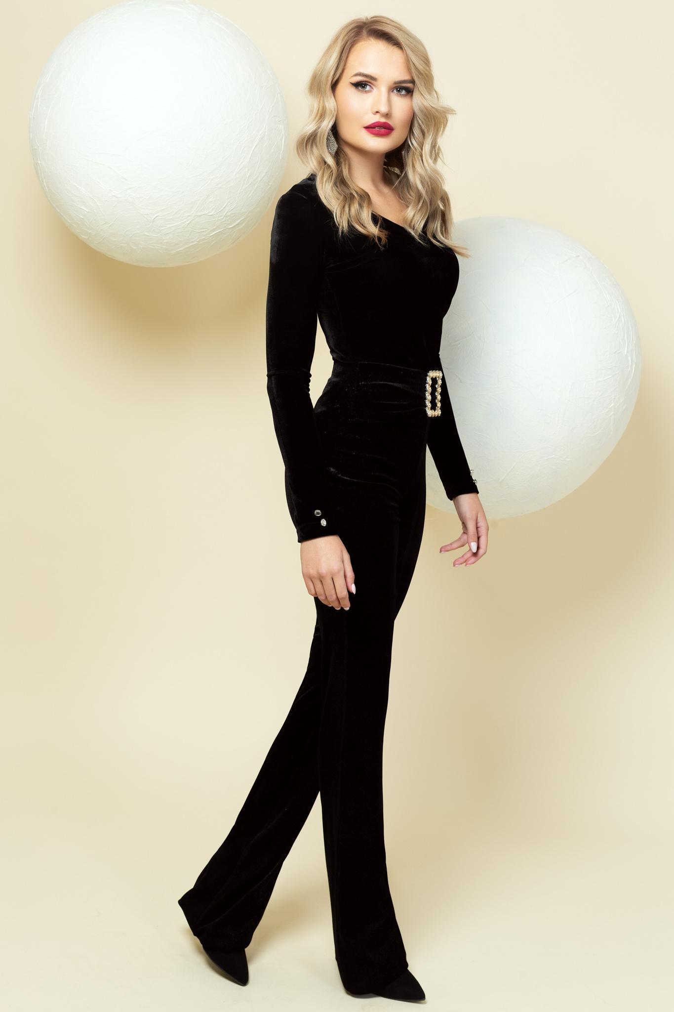 Fekete alkalmi magas derekú bővülő nadrág öv típusú kiegészítővel