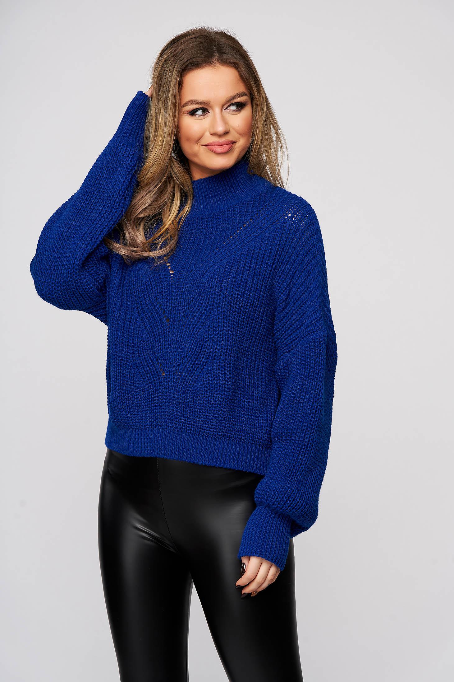 Pulover SunShine albastru din tricot usor transparent cu maneci bufante si croi larg