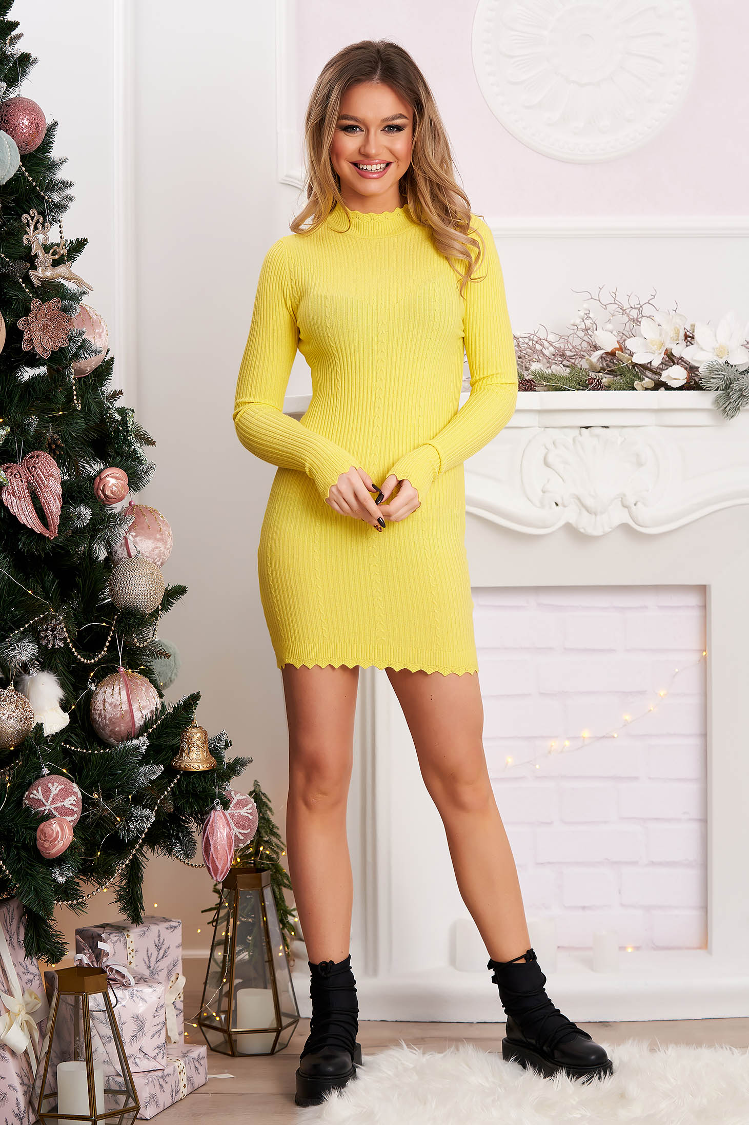 Yellow dress soft flat seam from elastic and fine fabric from striped fabric raised seams knitted