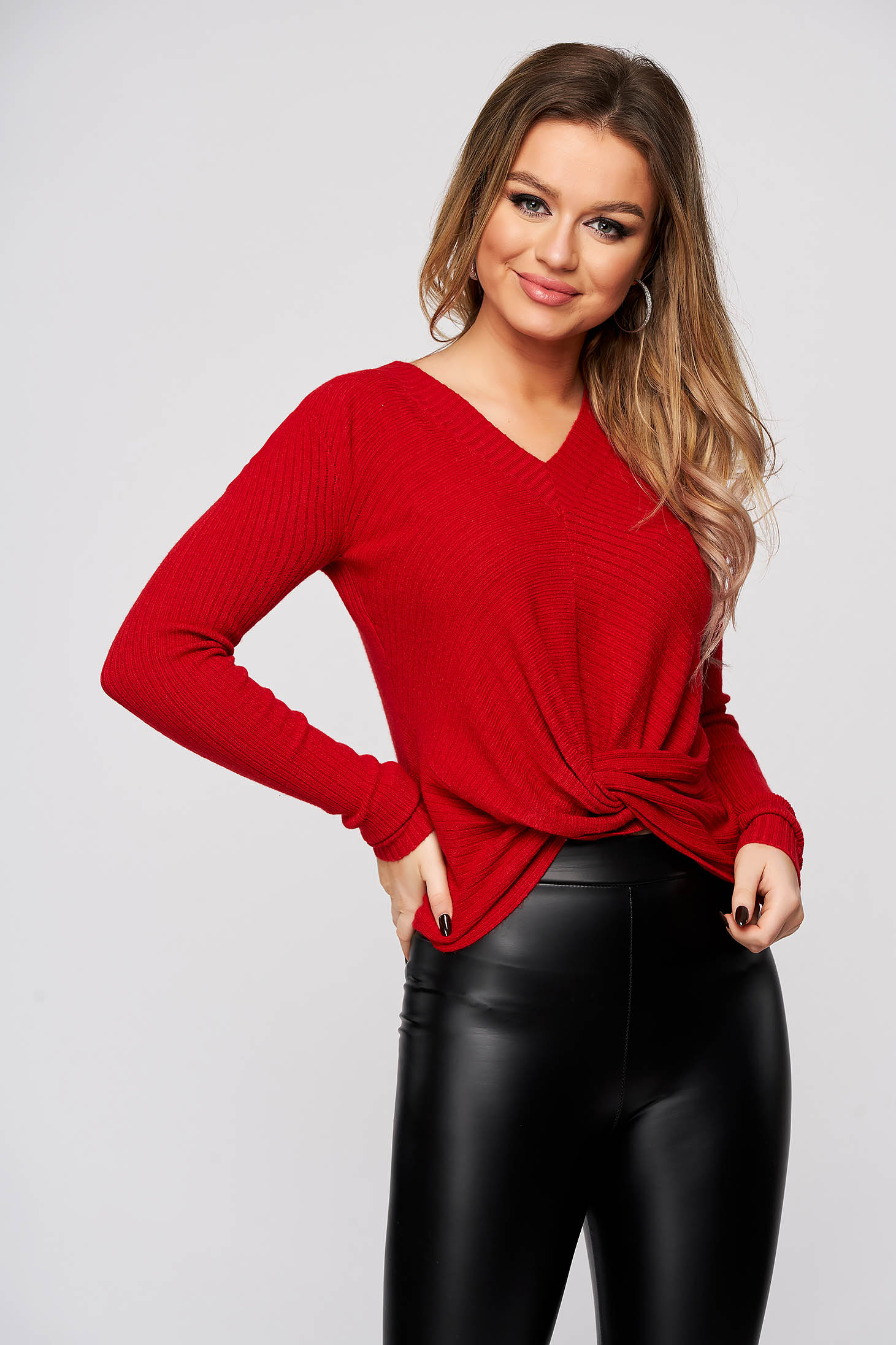 Red women`s blouse with v-neckline from striped fabric flared