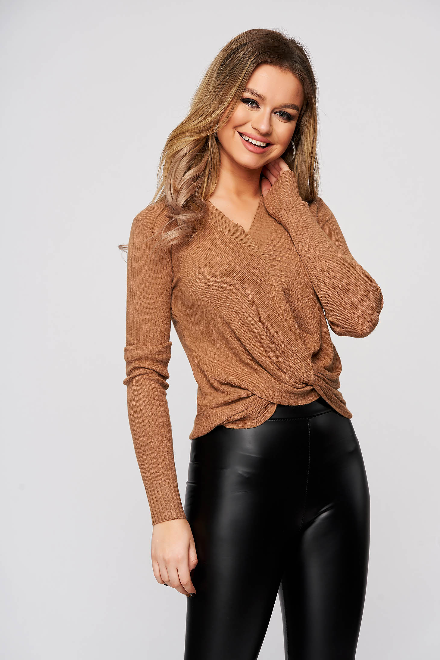 Cappuccino women`s blouse with v-neckline from striped fabric flared