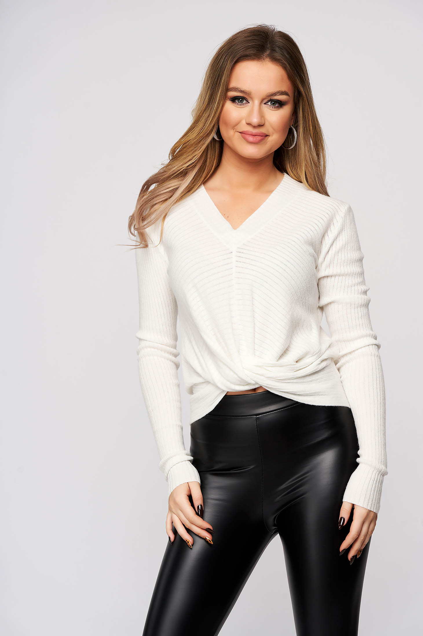White women`s blouse with v-neckline from striped fabric flared