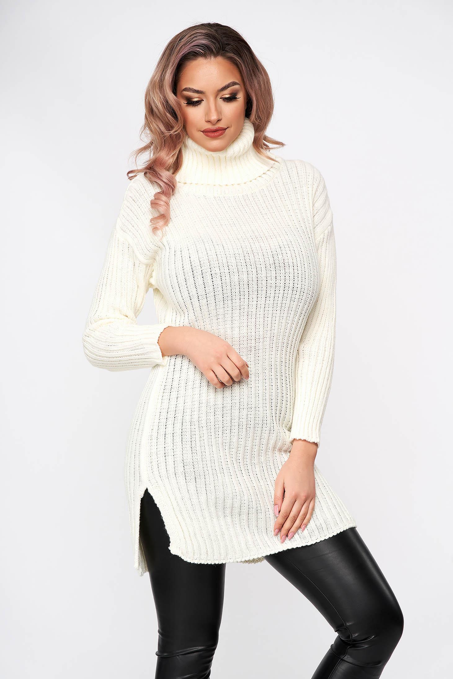 Rochie SunShine alba din tricot elastic reiat midi pe gat cu croi larg