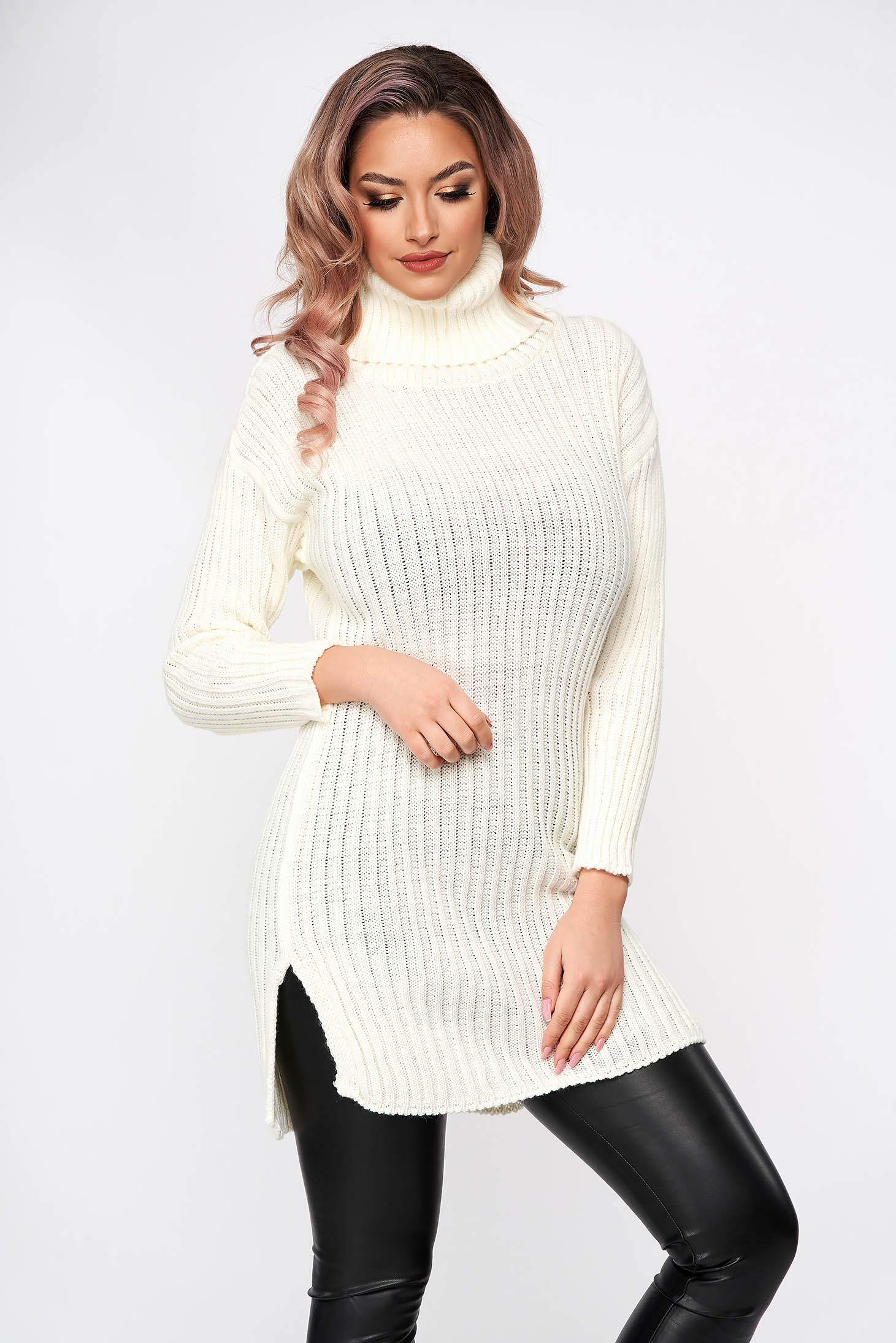 White dress knitted from elastic fabric from striped fabric midi turtleneck flared