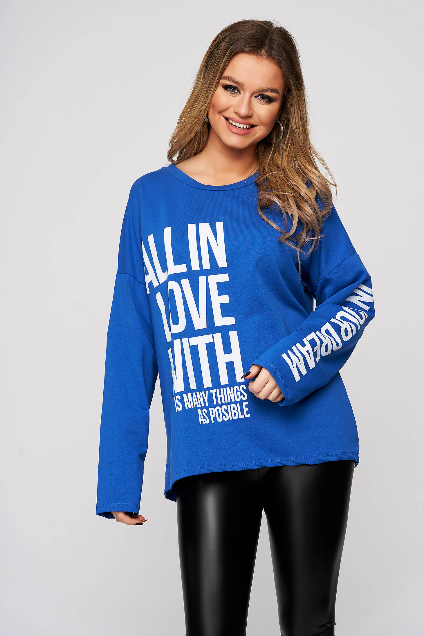 Blue women`s blouse cotton with writing print flared