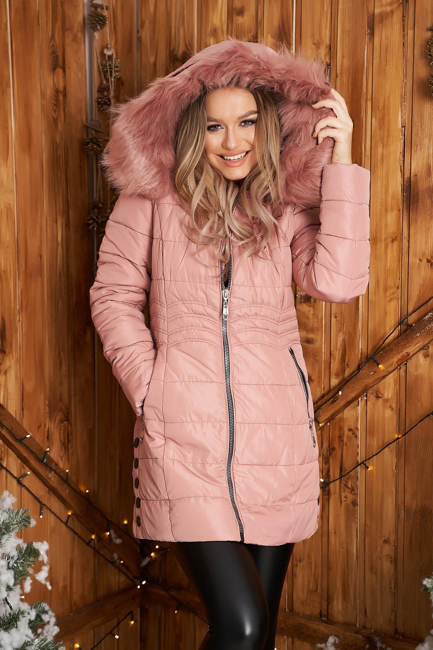 Pink jacket from slicker thin fur lining detachable hood fur collar
