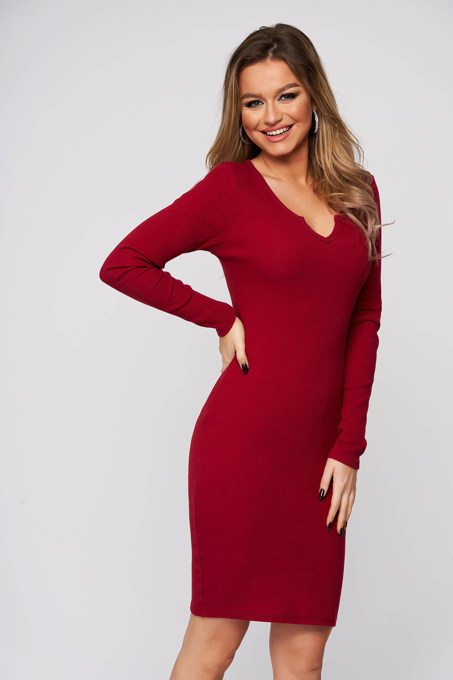 Burgundy dress cotton from elastic fabric with tented cut with deep cleavage