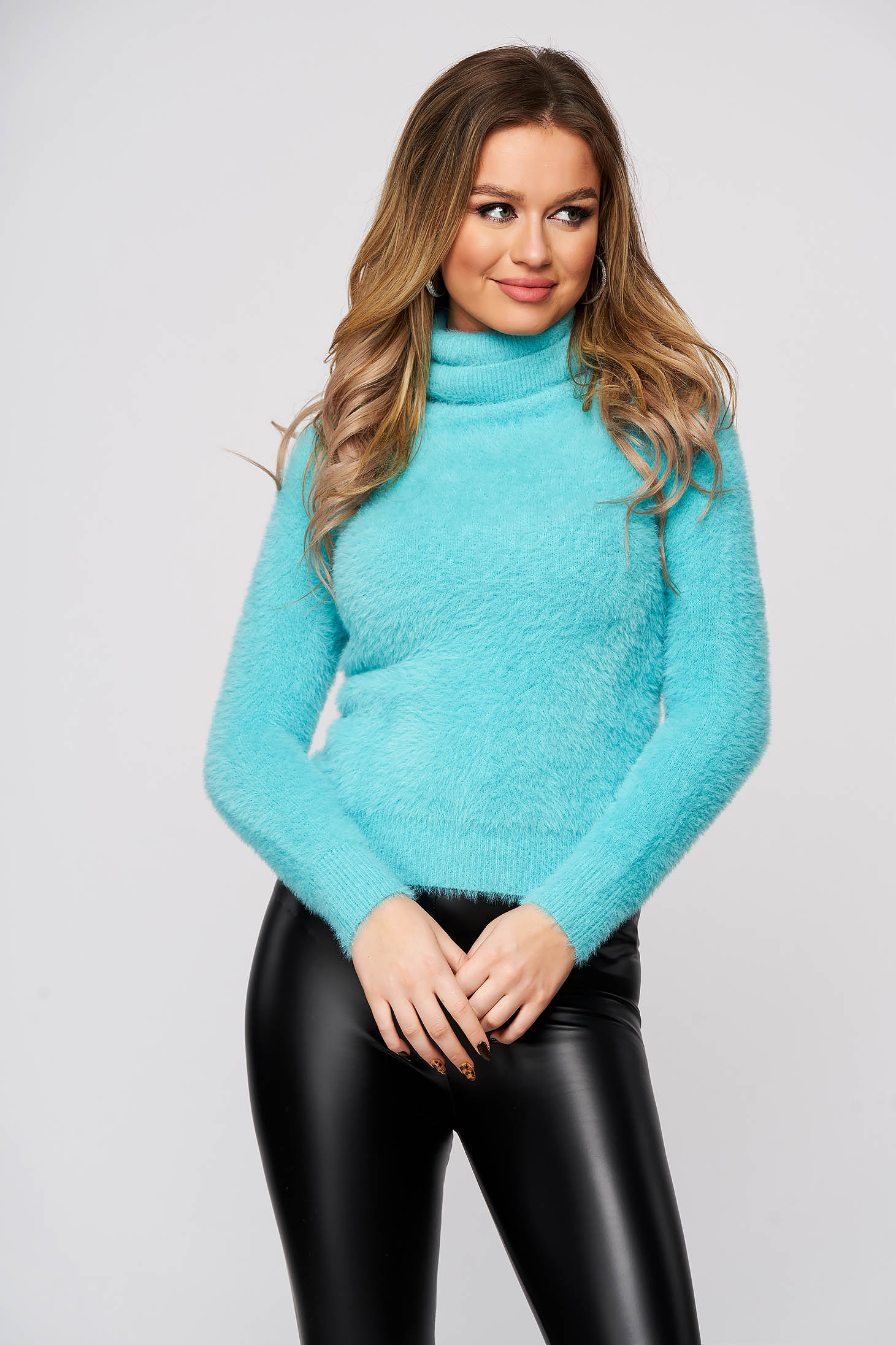 Turquoise sweater polyamide from fluffy fabric from elastic and fine fabric tented