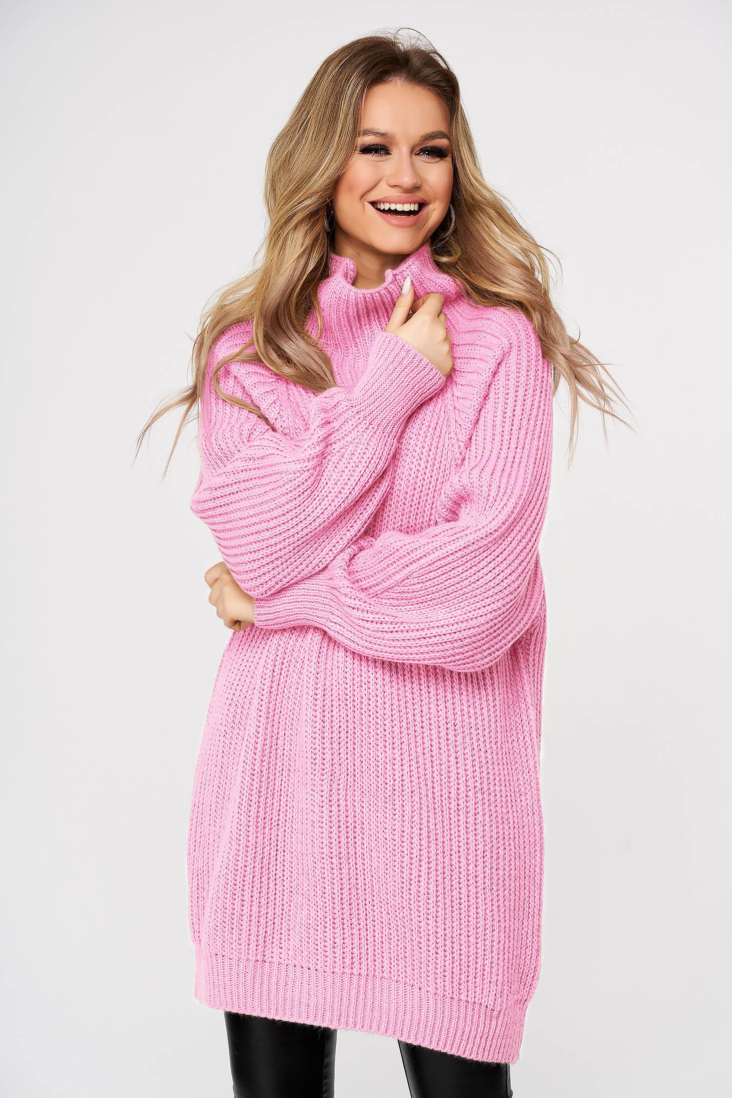 Pulover SunShine roz-deschis casual din material tricotat gros pe gat cu croi larg