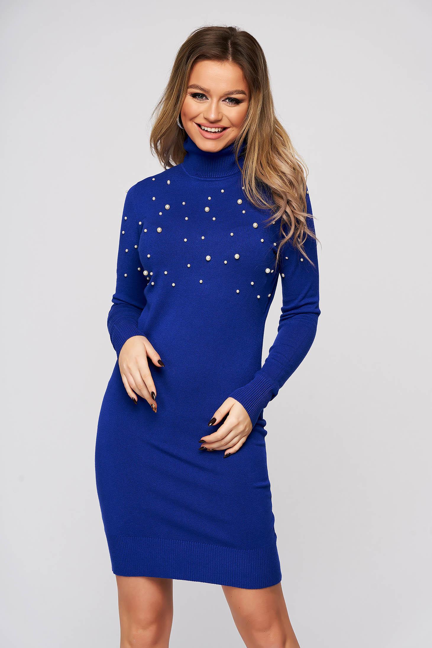 Rochie SunShine albastra din material elastic si fin scurta pe gat cu aplicatii cu perle