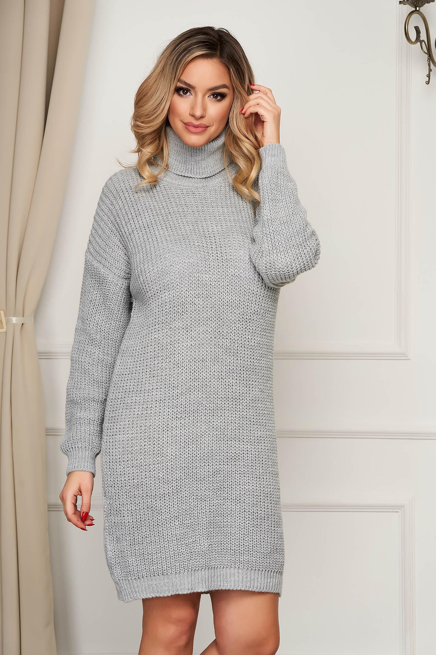 Rochie SunShine gri pe gat tricotata din material elastic cu croi larg