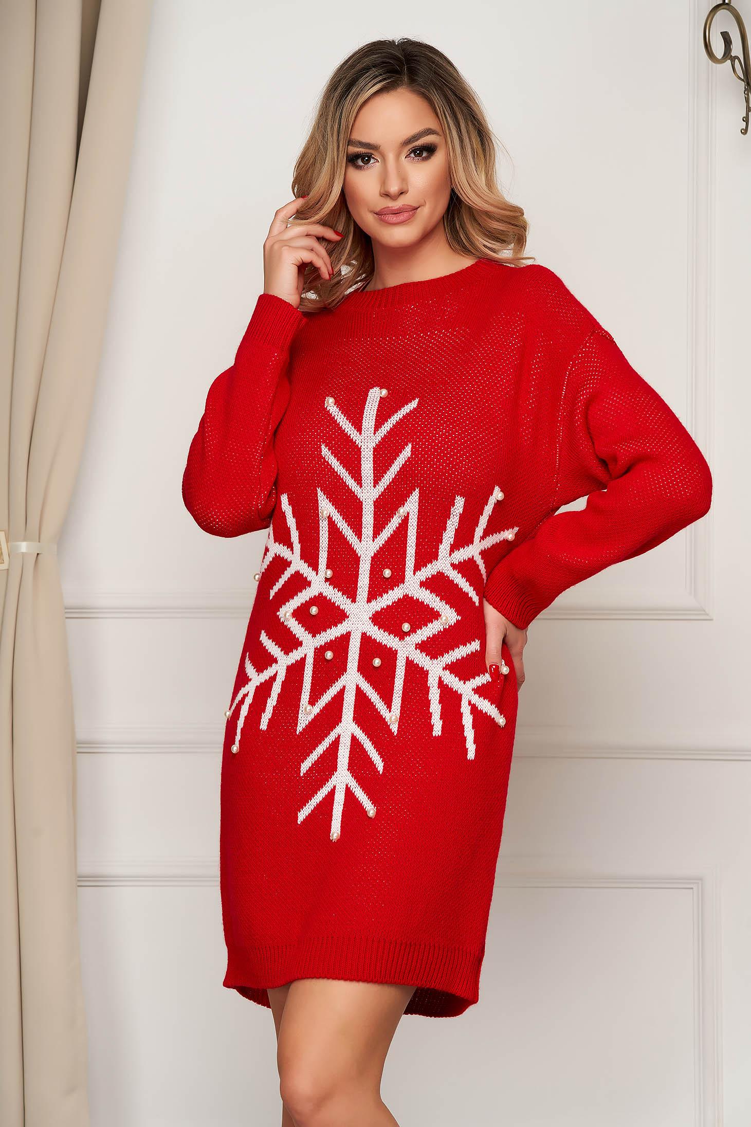 Rochie SunShine rosie din tricot elastic subtire cu aplicatii cu perle cu croi larg